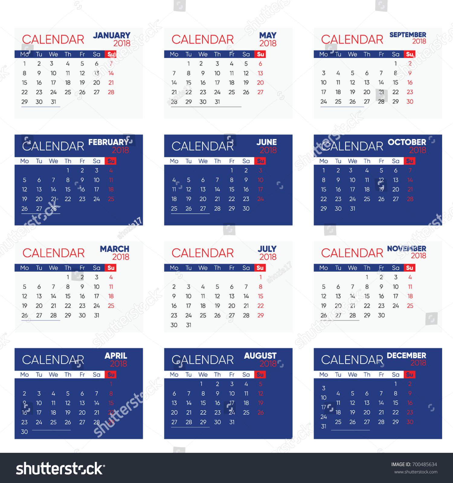 Set Desk Calendar 2018 template design blue cover Set of 12 Months Week