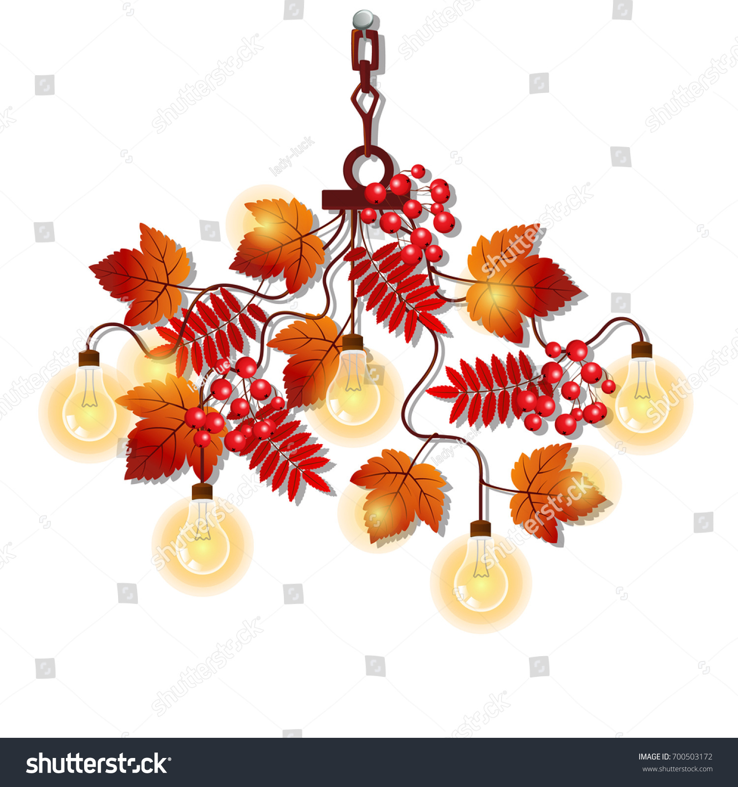 Electric Chandelier Ornate Frame Tree Branches Stock Vector