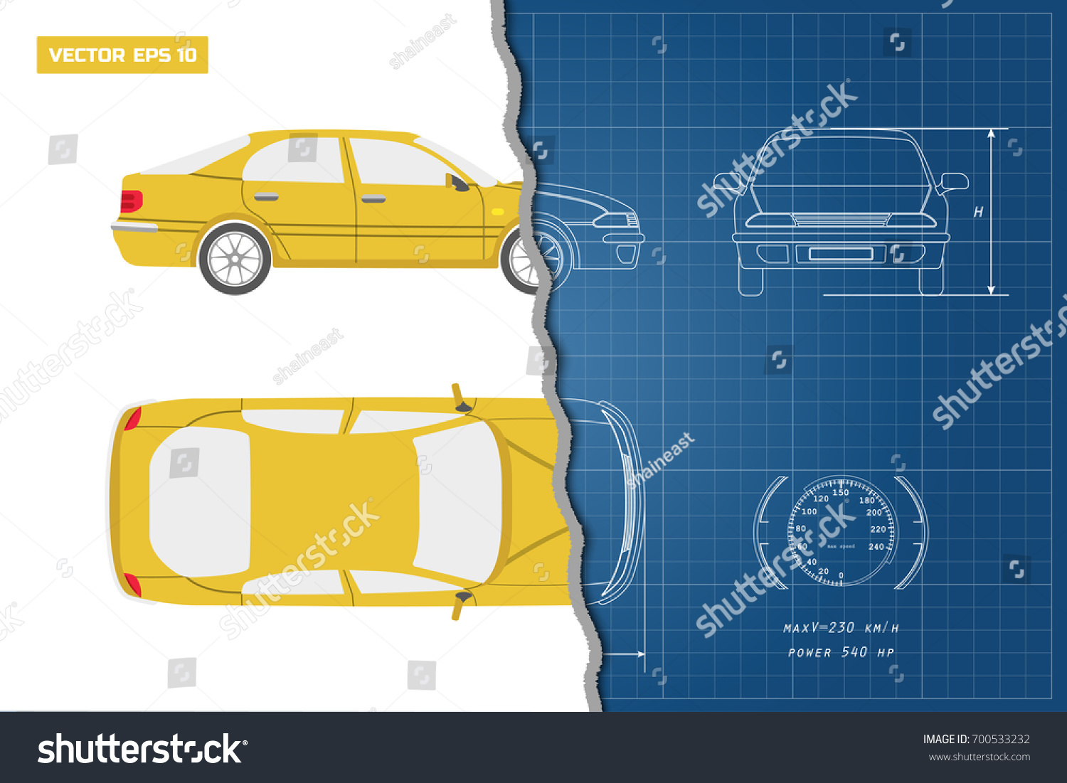 Drawing car on blue background top stock vector 700533232 drawing of the car on a blue background top front and side view malvernweather Image collections
