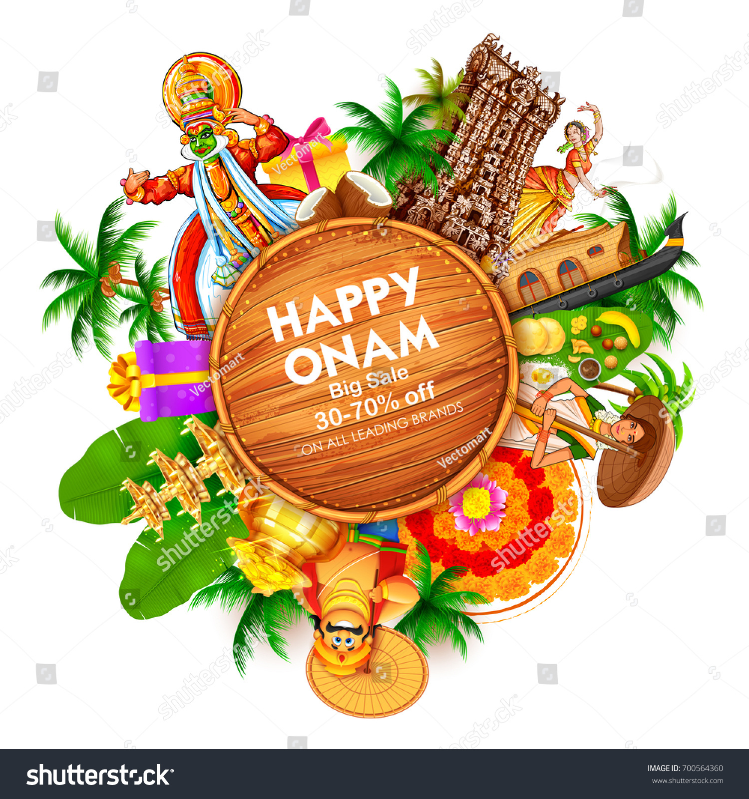 Illustration Advertisement Promotion Background Happy Onam