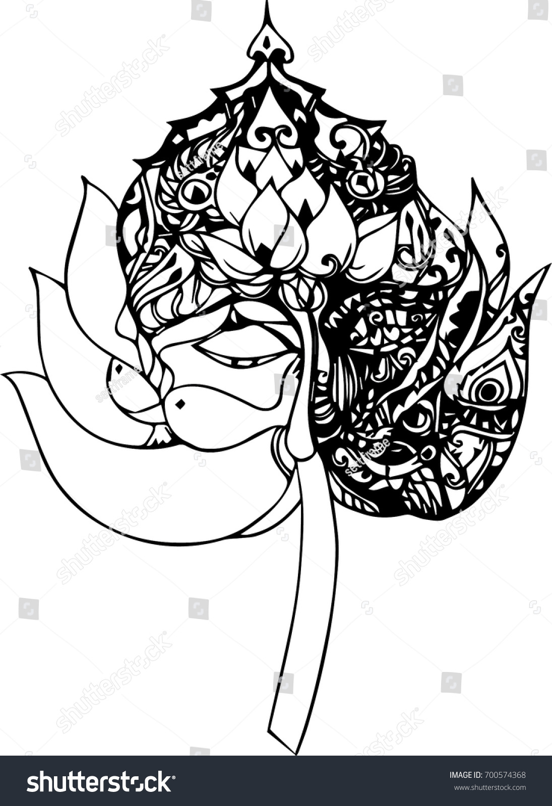 Hand draw lotus flower design tattoo stock vector 700574368 hand draw of lotus flower design for tattoo izmirmasajfo