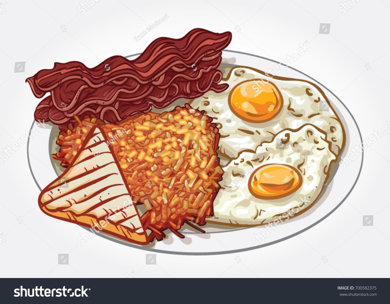 Hand Drawn Vector Illustration Breakfast Plate Stock Vector Royalty Free 700582375