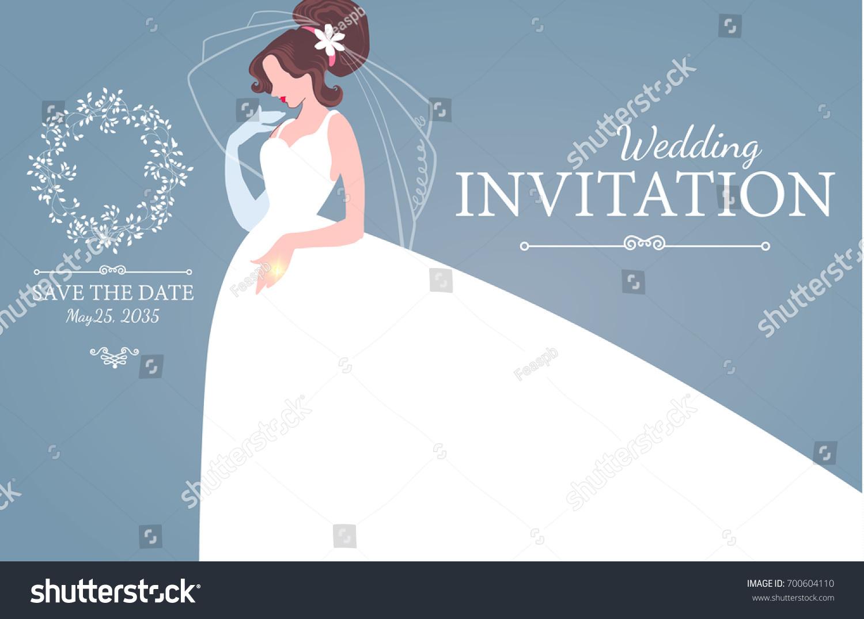 Wedding Invitation Bride Wedding Dress Bridal Stock Vector 700604110 ...