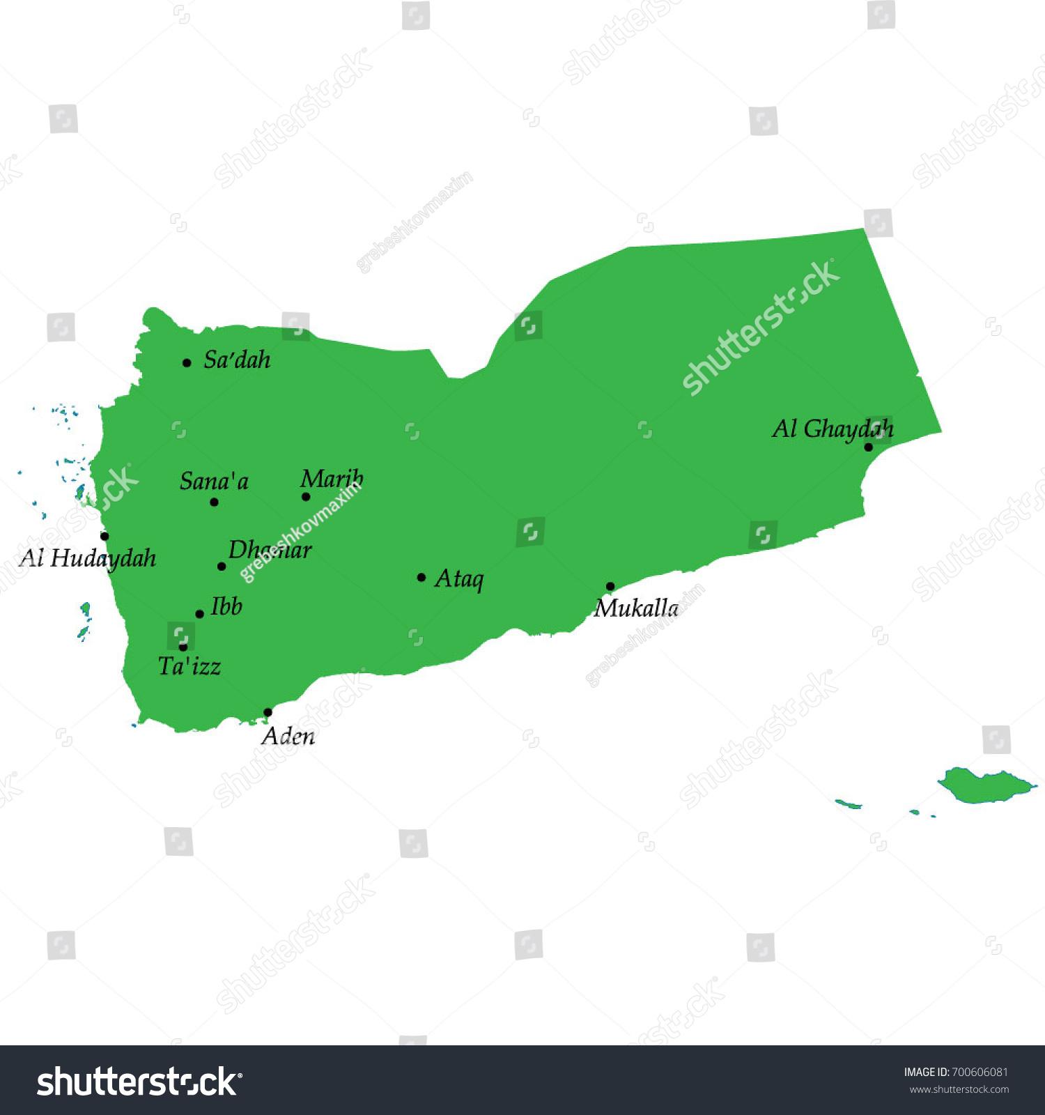 Map Yemen Main Cities Stock Vector 700606081 Shutterstock