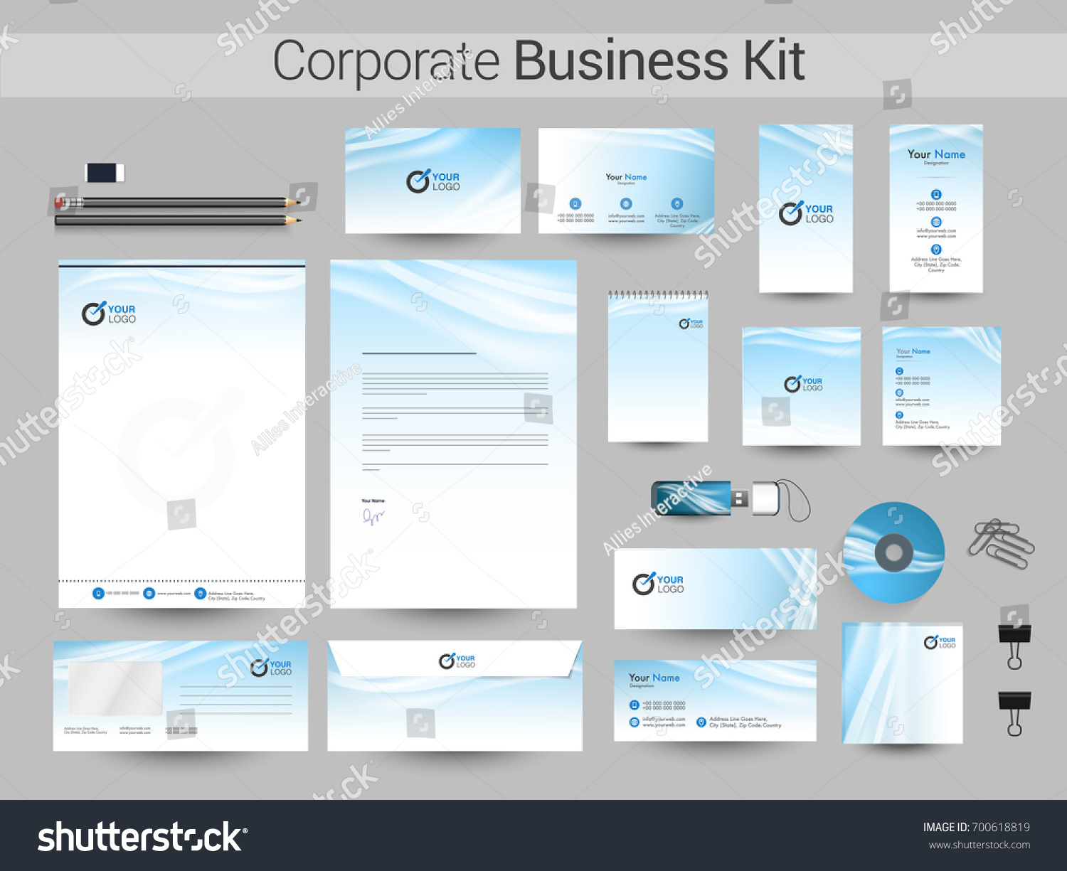 Abstract business kit including letter head stock vector 700618819 abstract business kit including letter head business card web banner or header notepad magicingreecefo Image collections