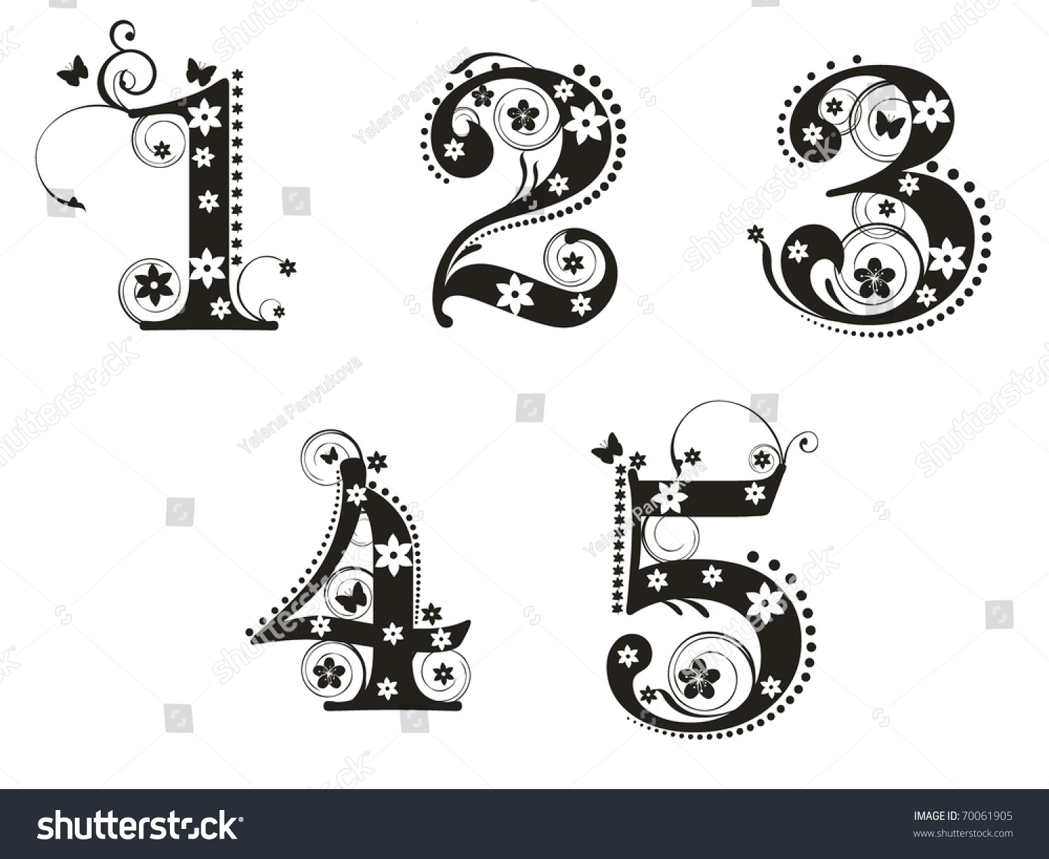 Decorative number flowers design stock vector 70061905 for Blueprint number