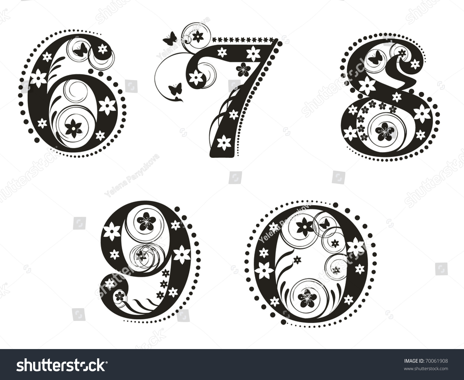 Decorative number flowers design stock vector 70061908 for Blueprint number