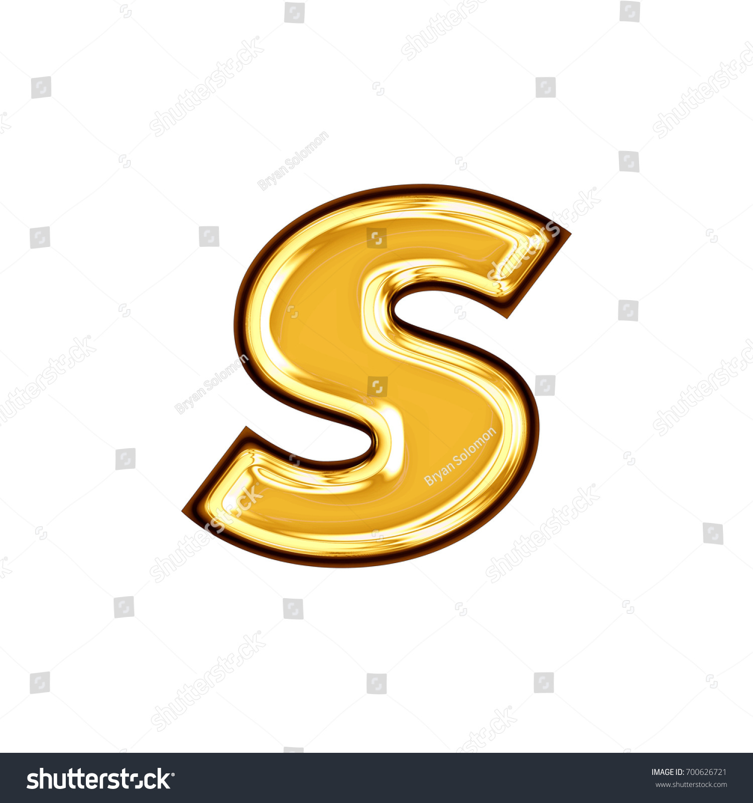 Shiny Golden Yellow Lowercase Small Letter Stock Illustration
