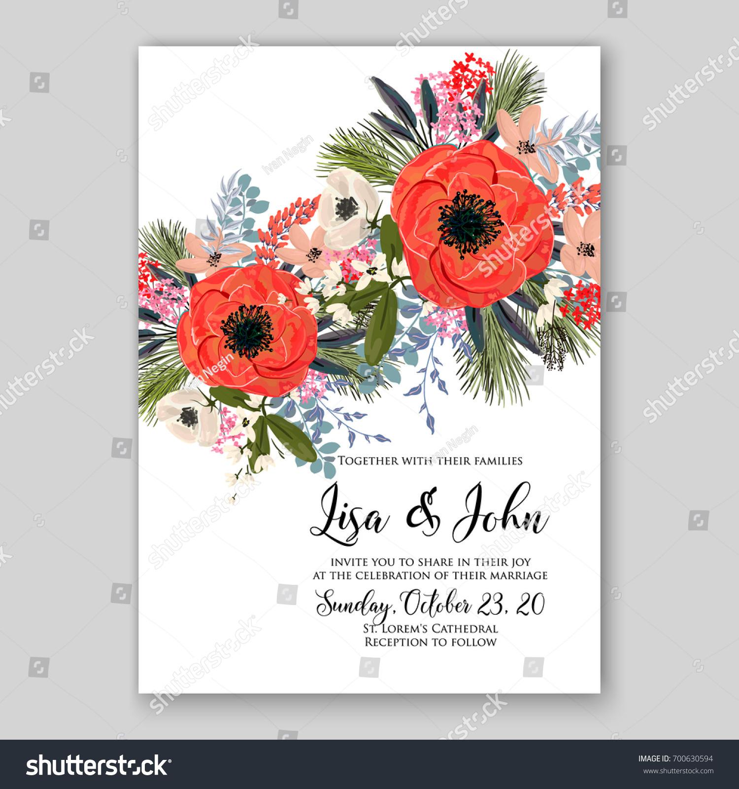 Wedding Invitation Template Floral Ornament Peony Stock Vector ...