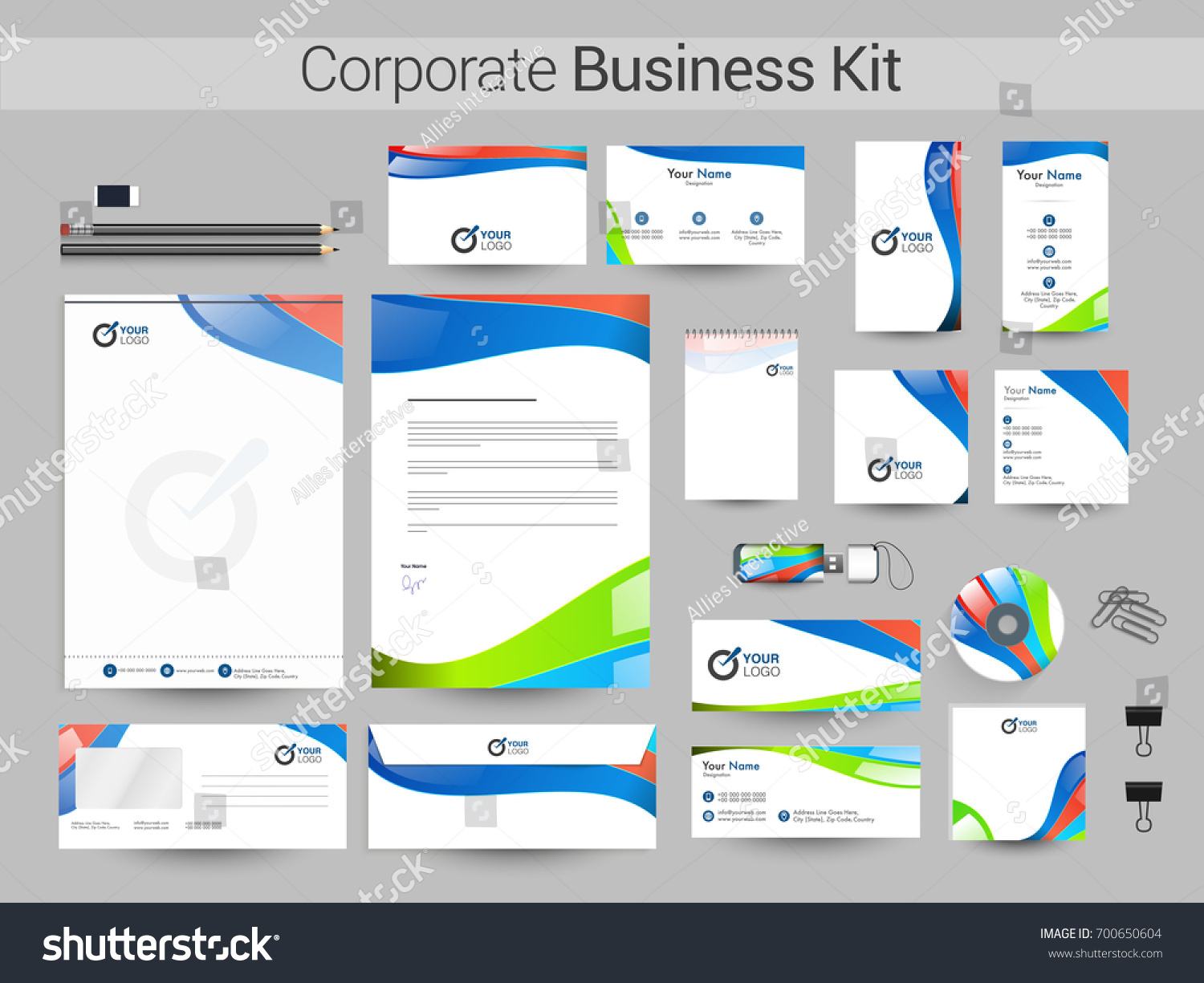 Corporate Business Kit Including Letter Head Stock Vector 700650604 ...