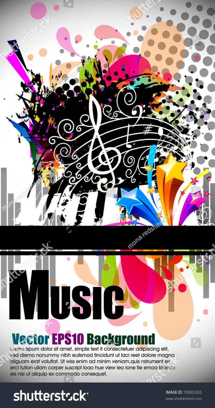 Musical Theme Background With Music Tunes And Disco Ball Editable Illustration