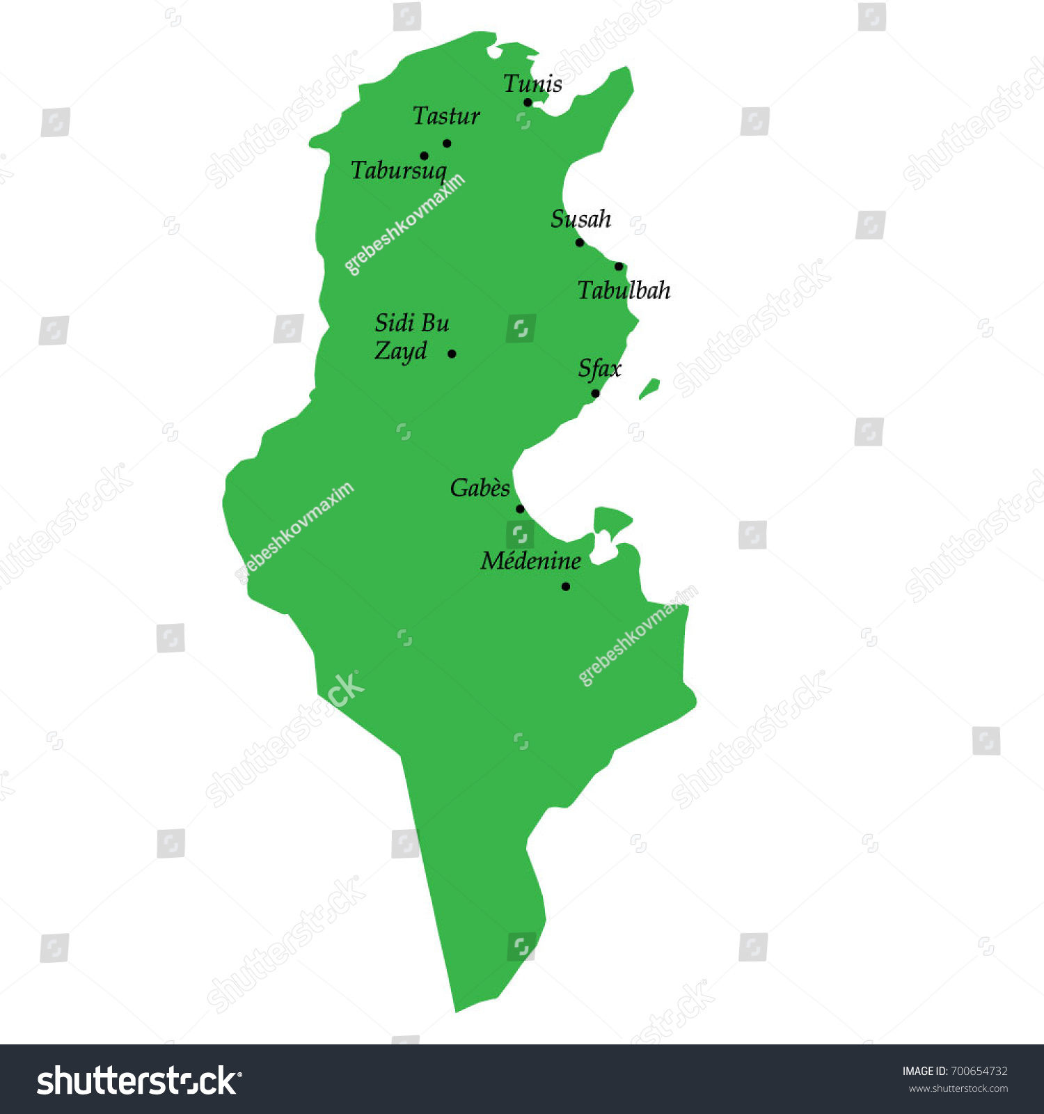 Map Tunisia Main Cities Stock Vector (Royalty Free) 700654732 ...