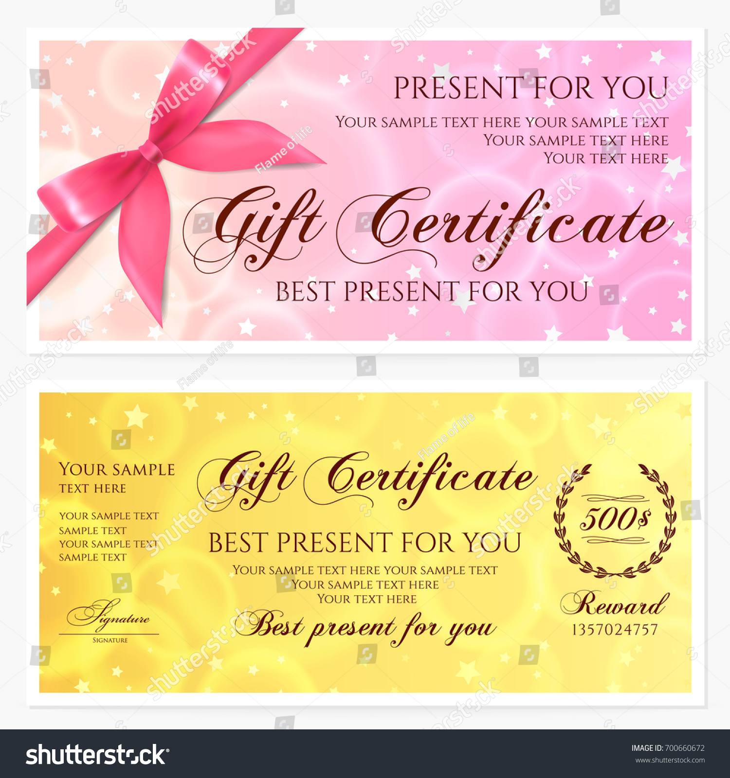 Gift Certificate Voucher Coupon Invitation Gift Stock Vector ...