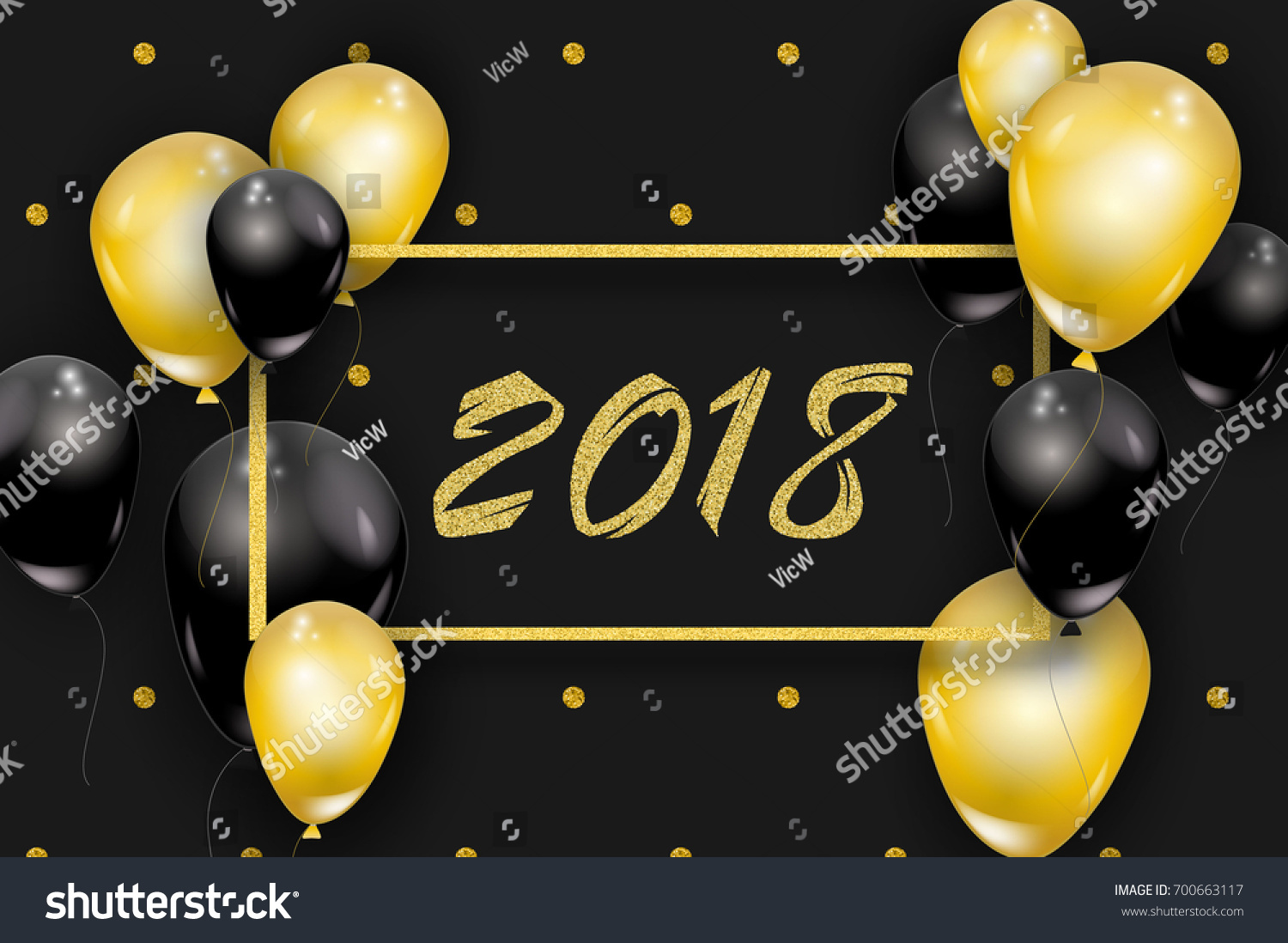2018 happy new year background dots gold glitter frame golden black balloons