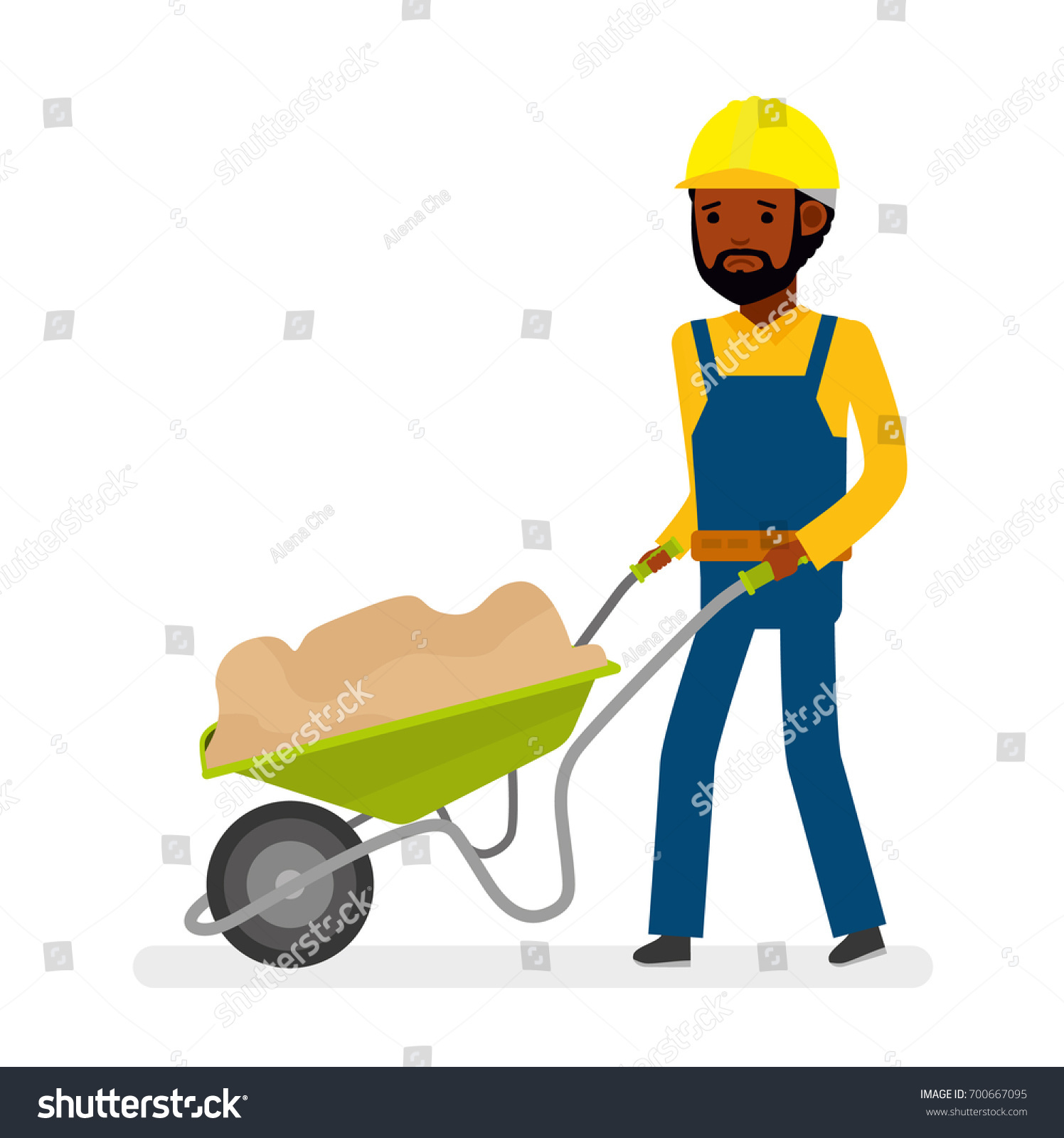 construction worker drags on cart sand stock vector 700667095