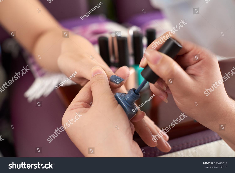 Closeup Image Manicurist Applying Dark Grey Stock Photo 700699045 ...