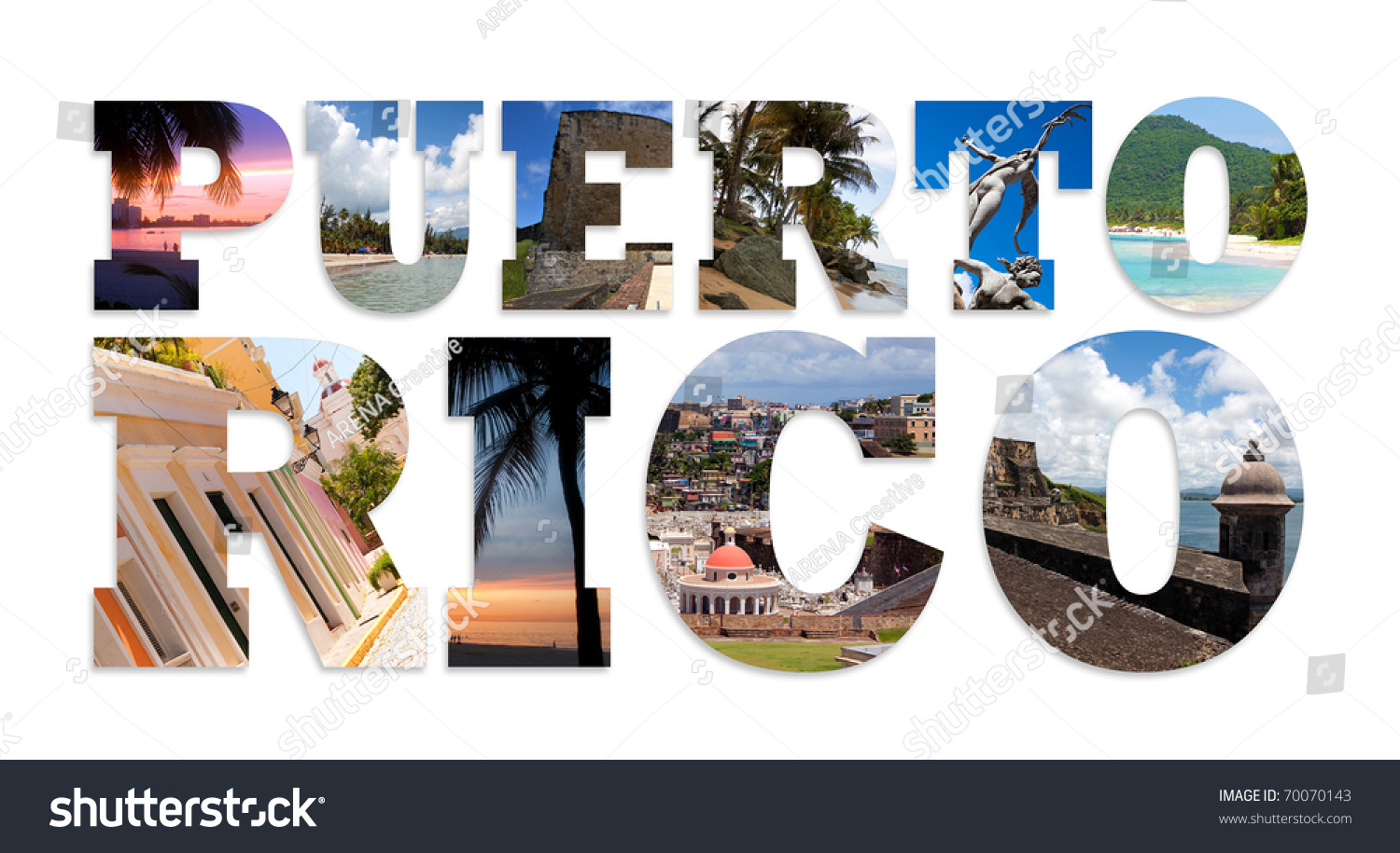 words puerto rico isolated over white stock illustration