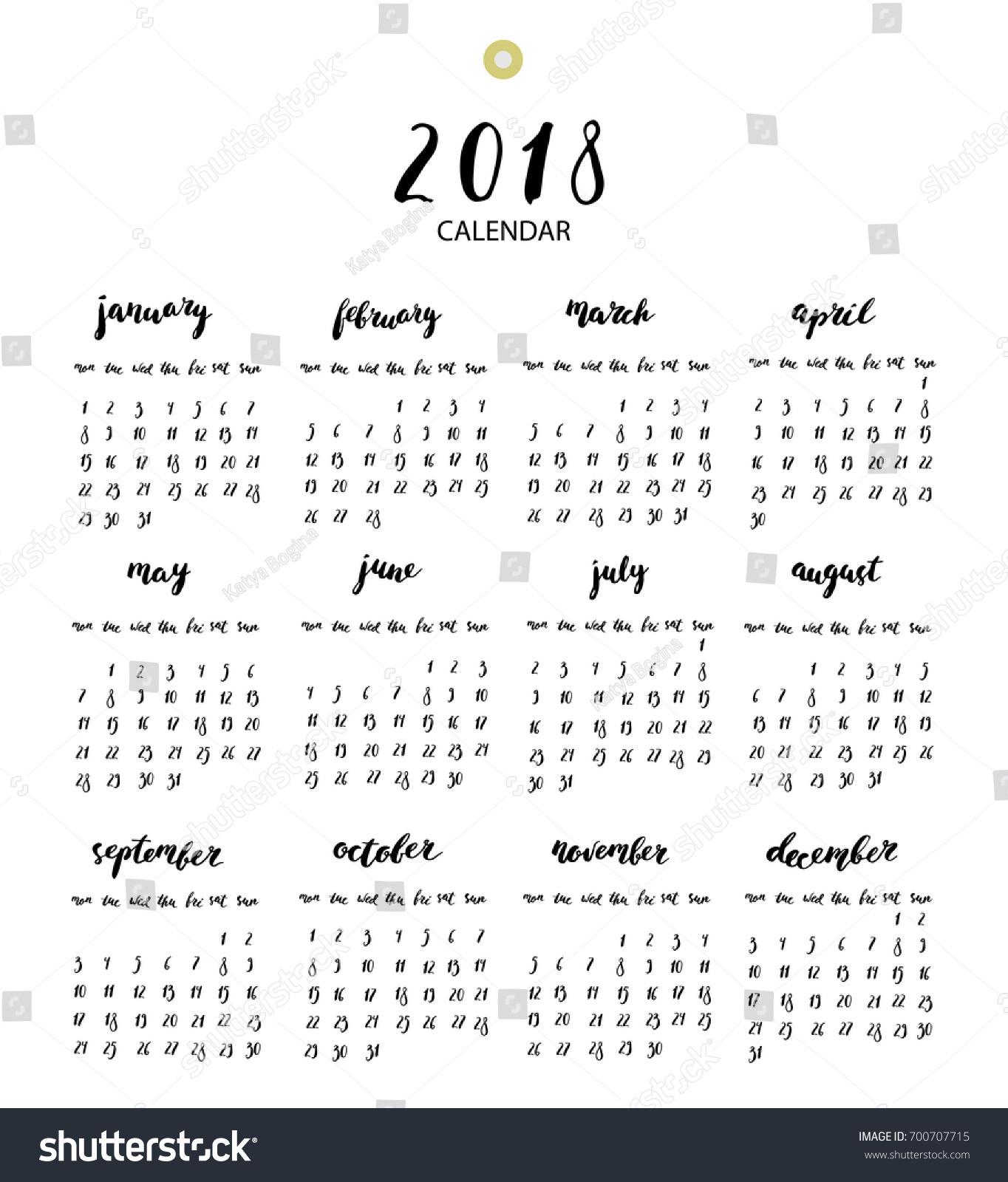 Calendar Year Names : Hand written ink calendar year stock vector