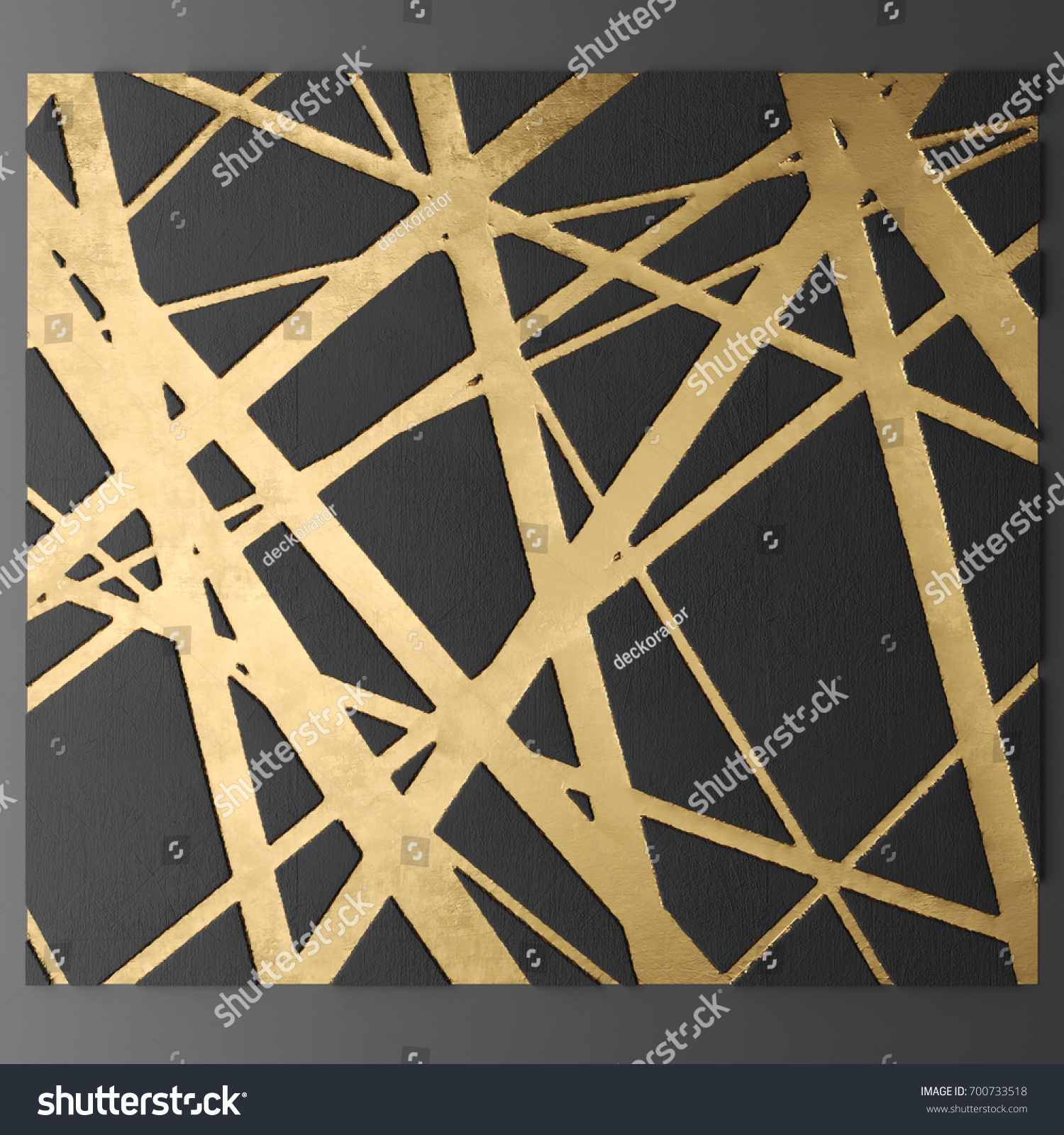 3 D Wall Art Paintings Gold Leaf Stock Illustration 700733518 ...