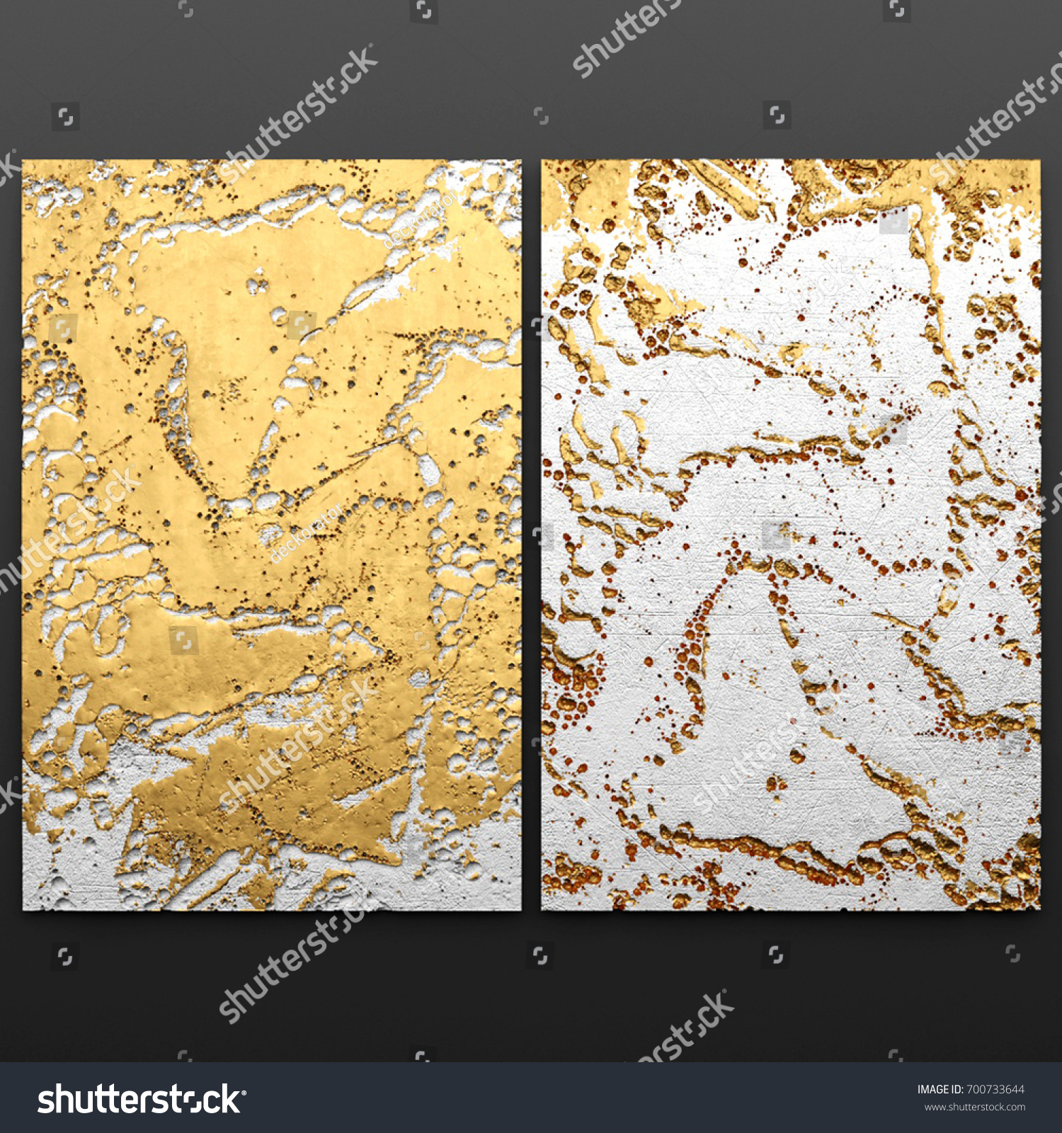 3 D Wall Art Paintings Gold Leaf Stock Illustration 700733644 ...