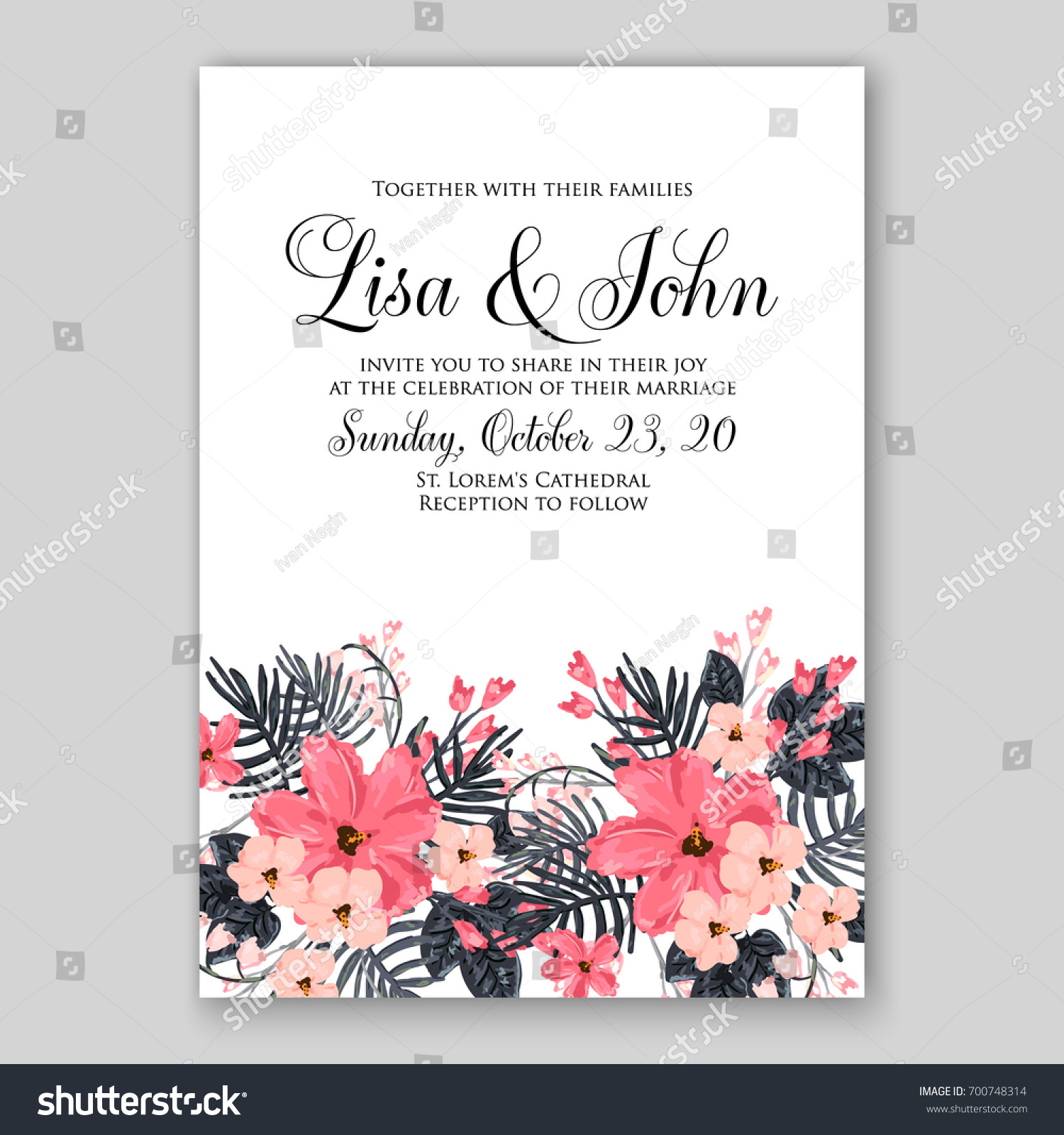 Wedding Invitation Card Tropical Floral Background Stock Vector HD ...