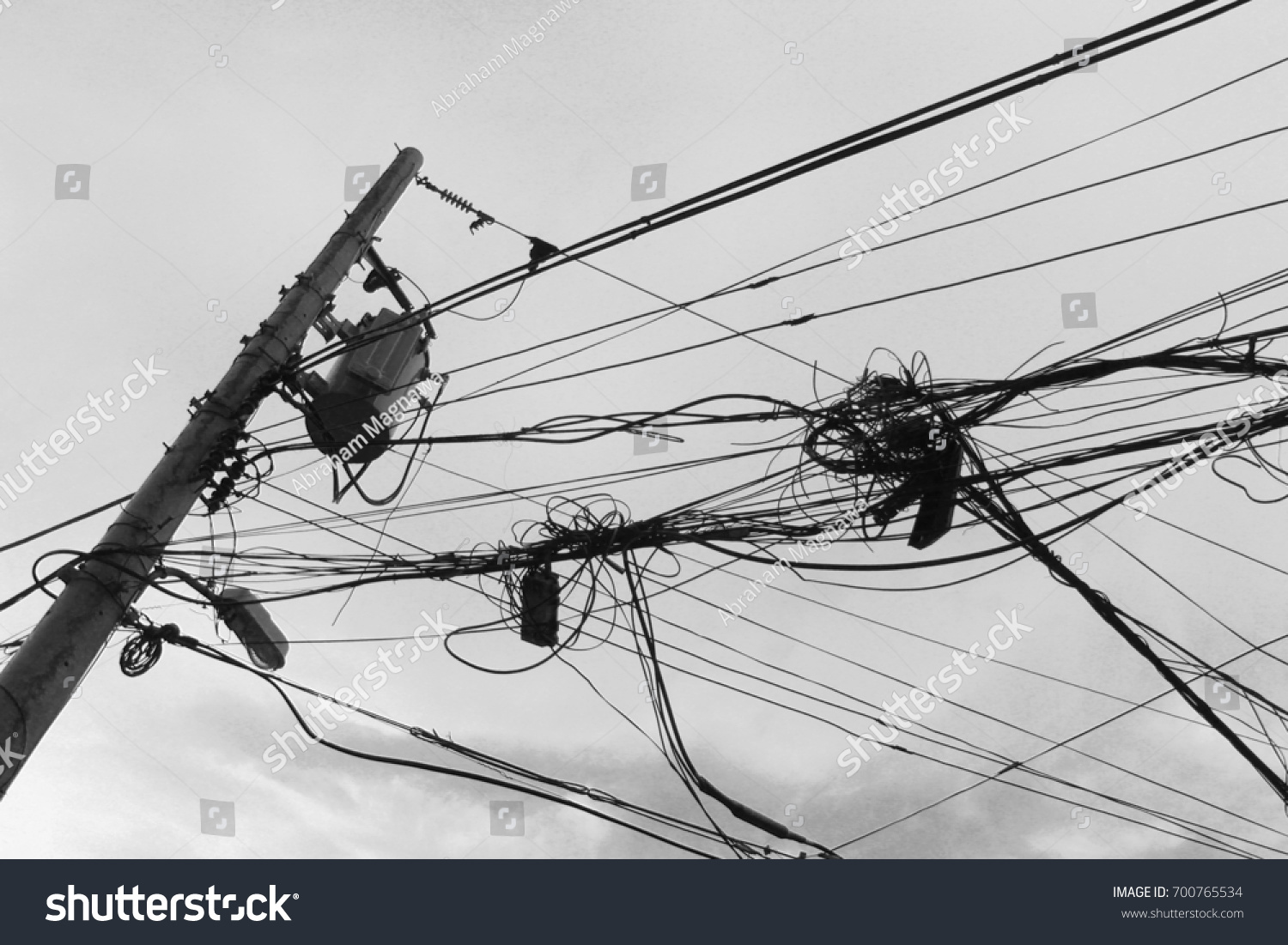 Wire Connections Transformer Electricity Post Black Stock Photo ...