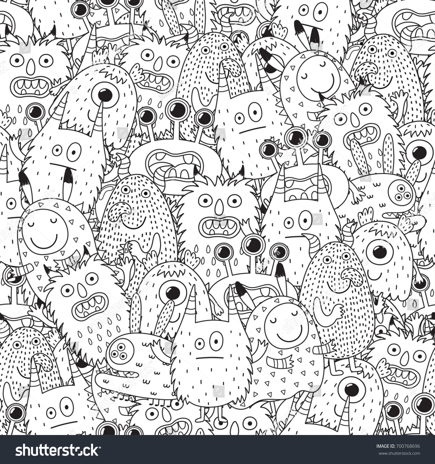 Funny Monsters Seamless Pattern Coloring Book Stock Vector ...