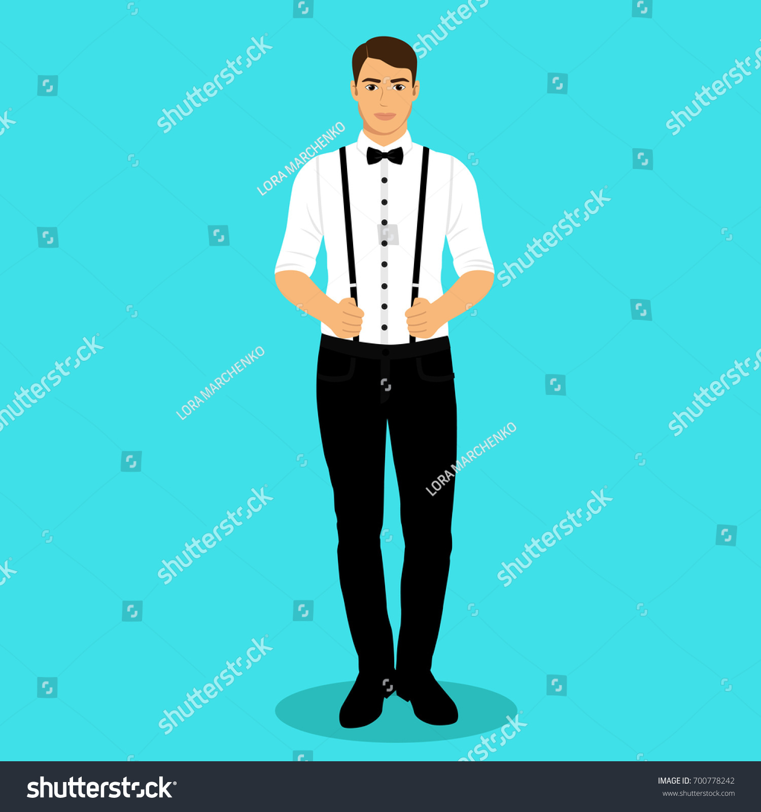 Man Suspenders Groom Clothing Wedding Mens Stock Illustration ...