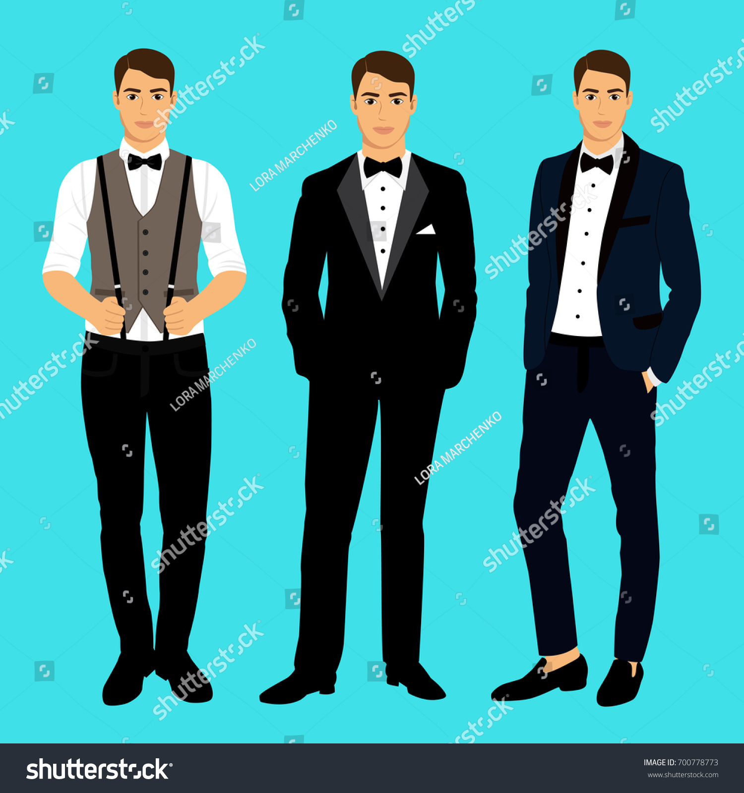 Collection Clothing Groom Wedding Mens Suit Stock Illustration ...