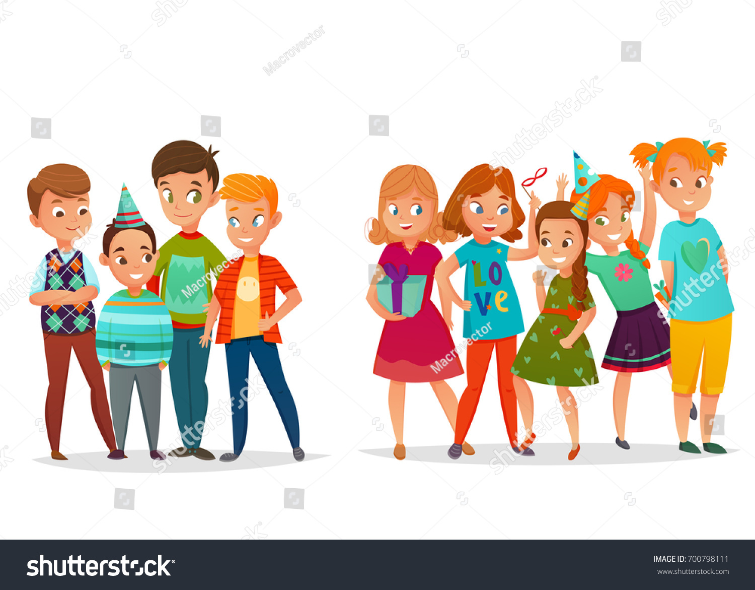 Kids Birthday Party Retro Cartoon Set Of Girls And Boys Groups In Cone Hats Isolated Vector