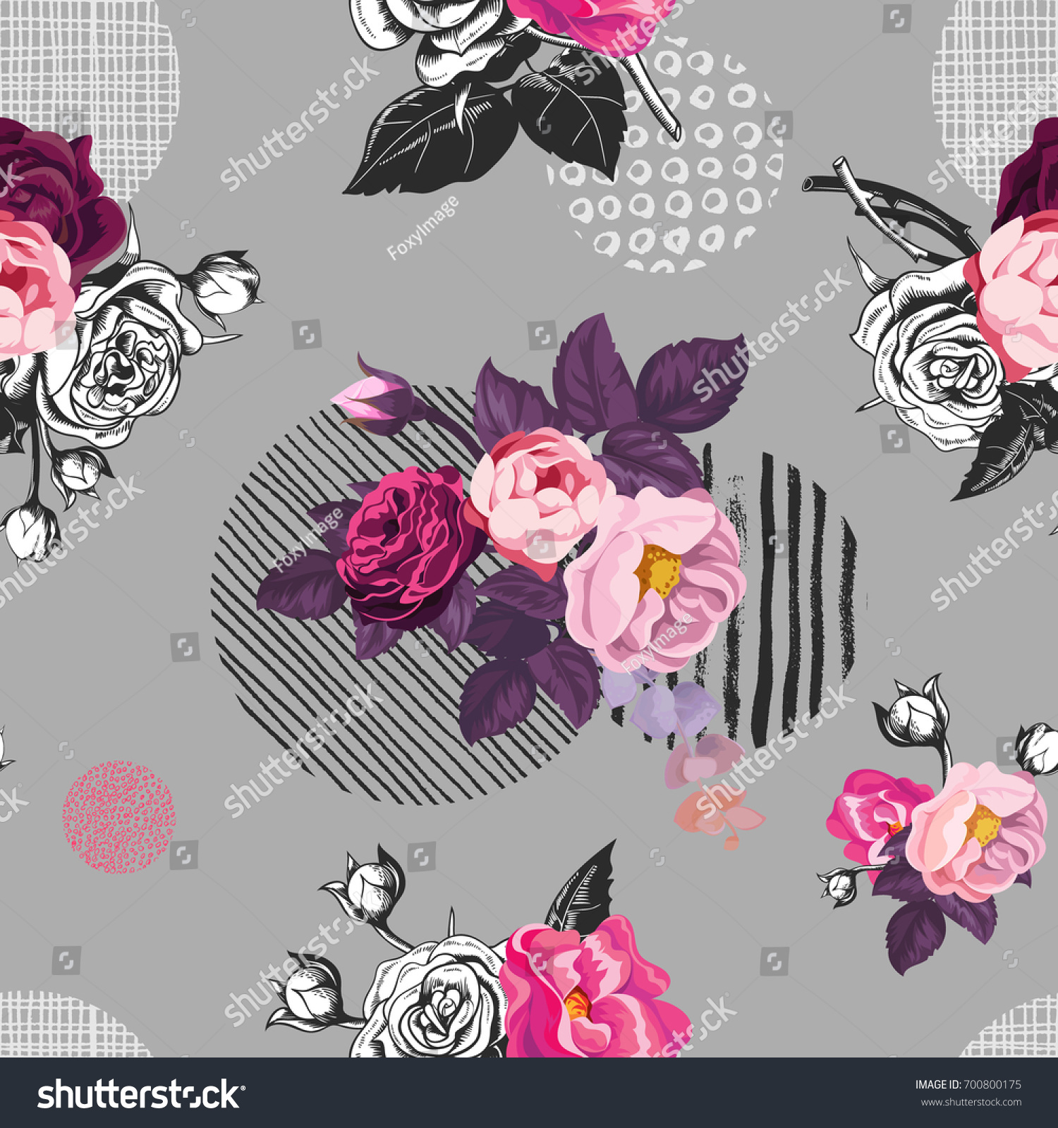 Elegant seamless pattern with semi-colored wild rose flowers against gray  background with hand painted