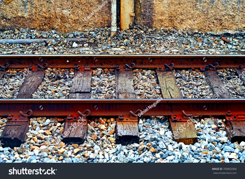 Old Iron Rails Wooden Railway Sleepers Stock Photo (Edit Now) 700802068