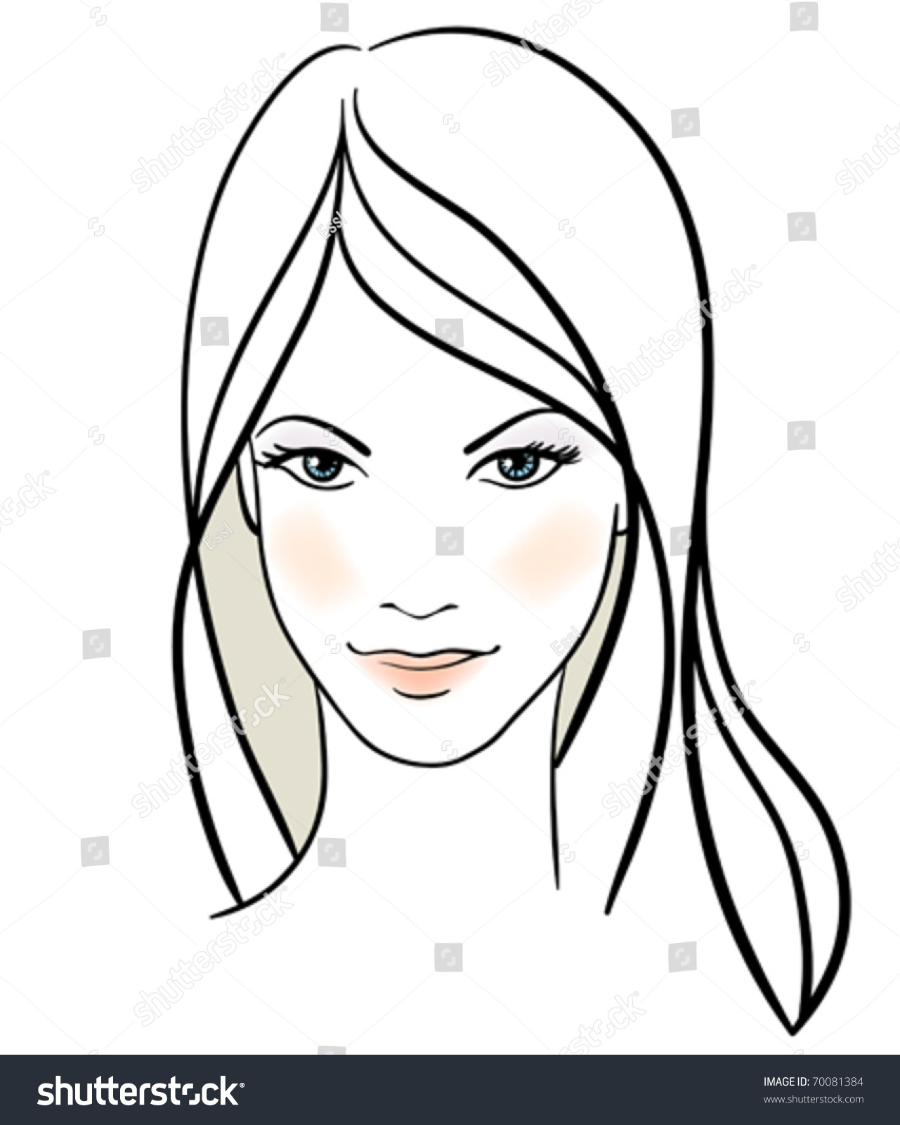 Beauty Girl Face Handdrawn Fashion Model Stock Vector