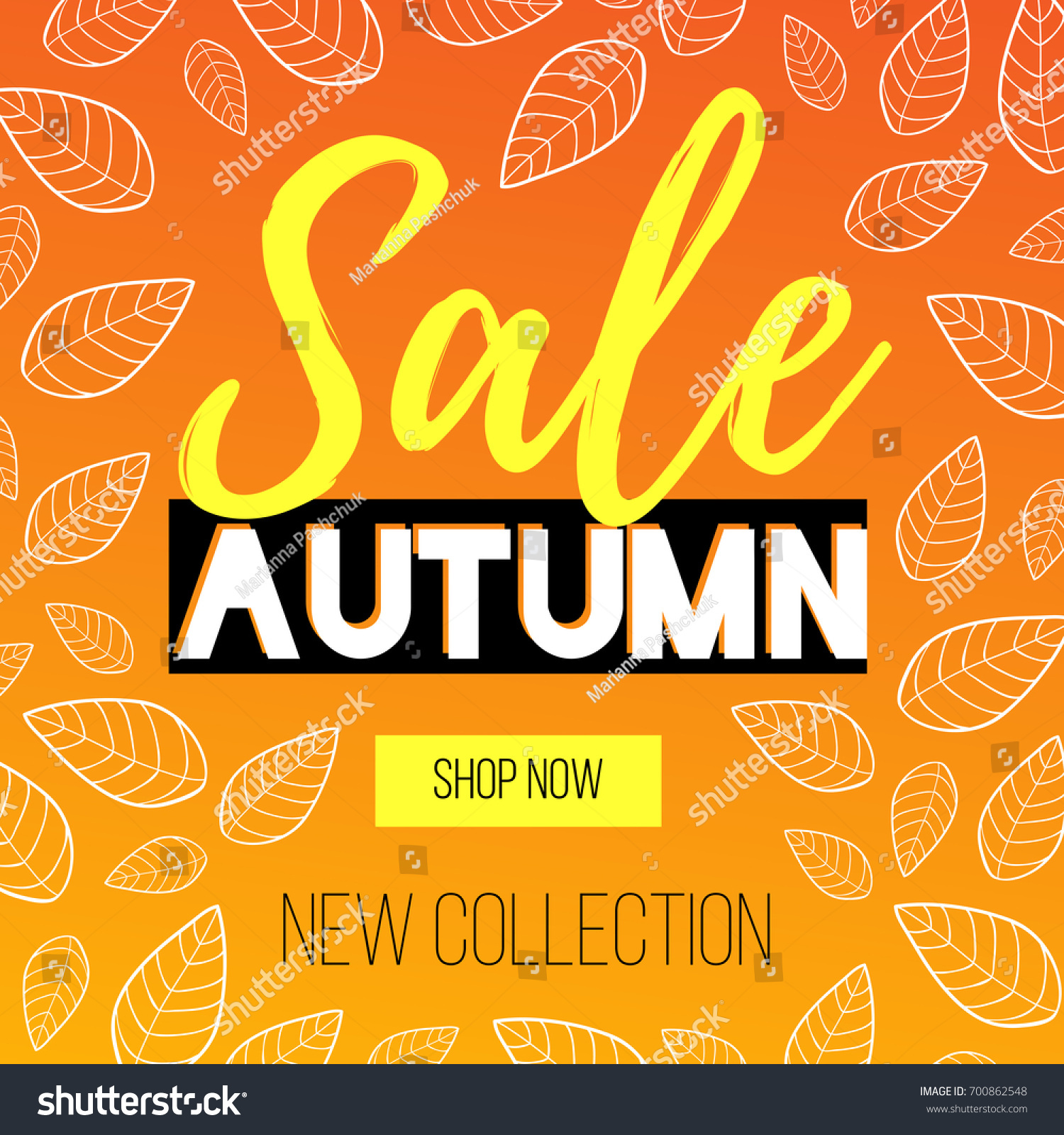 autumn sale flyer template lettering on stock vector 700862548