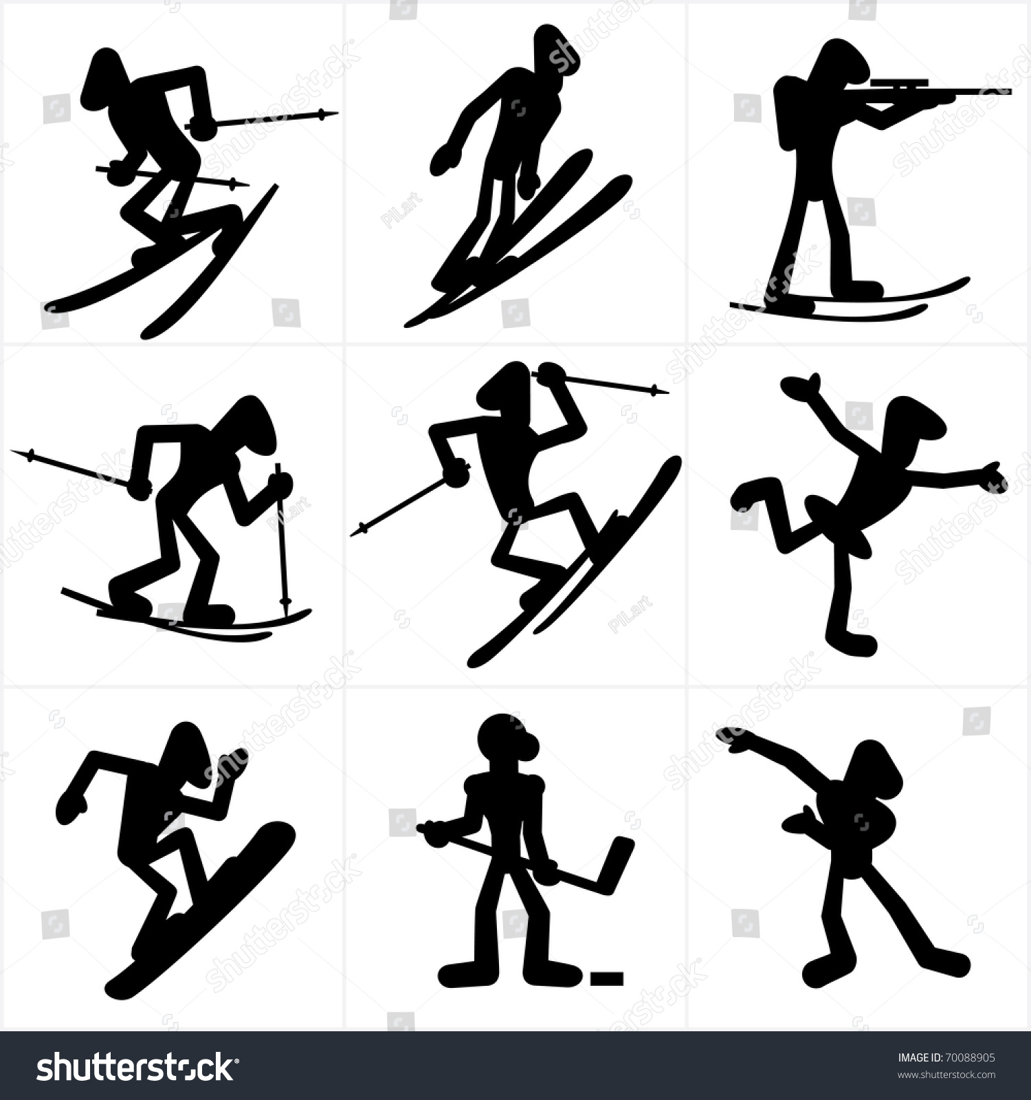 Cartoon Icons Winter Olympic Games Sports Stock Vector 70088905 ...