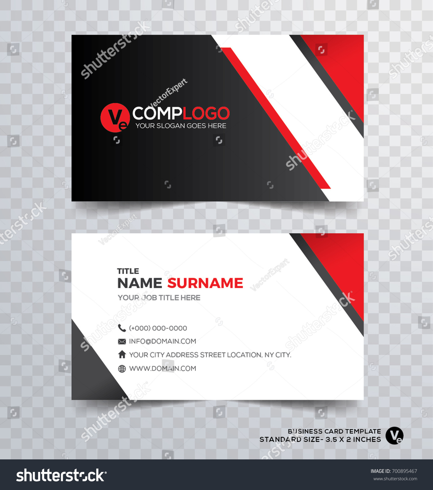 Vector Modern Creative Clean Business Card Stock Vector 700895467 ...