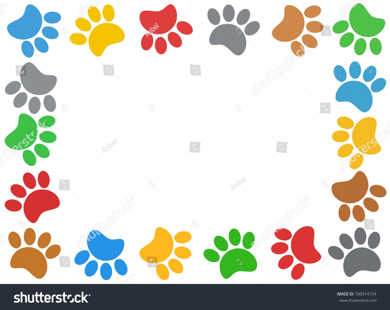 Multicolored Paw Print Animal Frame Empty Stock Illustration ...