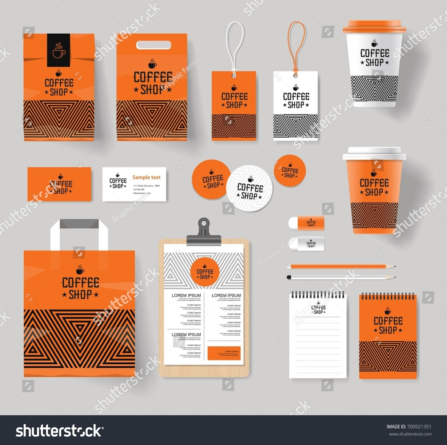 Corporate Branding Identity Mock Template Coffee Stock Vector ...