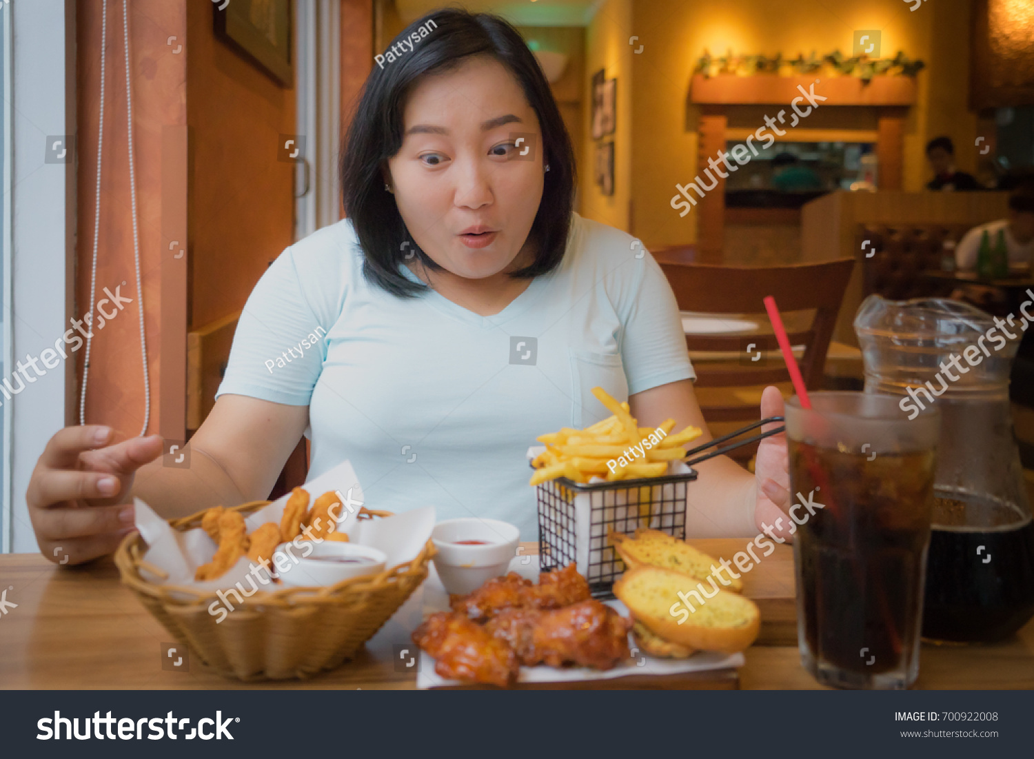 Fat Asian Woman Happy With Fast Foods In Restuarantoverweight Female Enjoy Eating Unhealthy