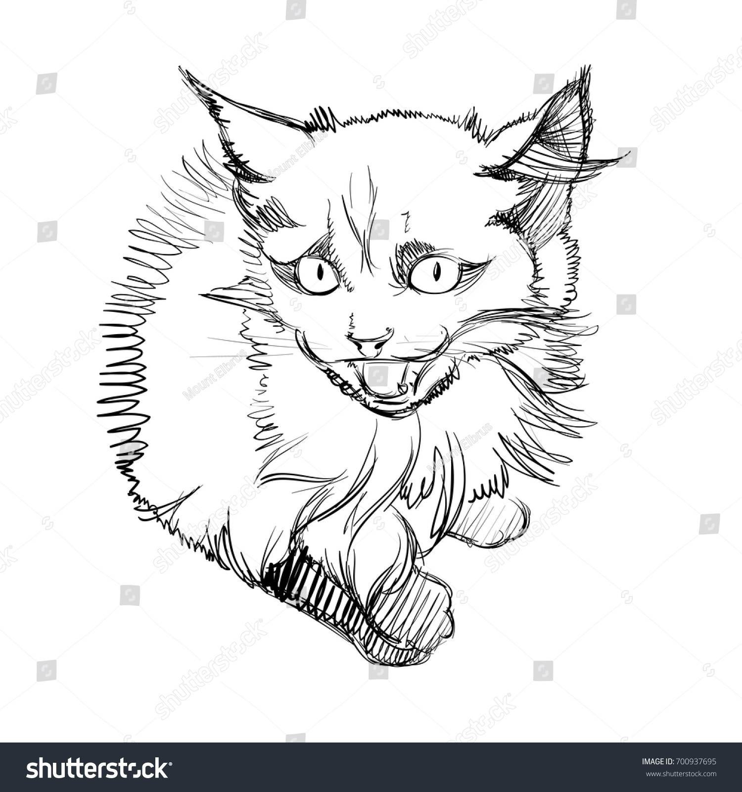 Vector Illustration Adorable Cat Sketched Little Stock Vector
