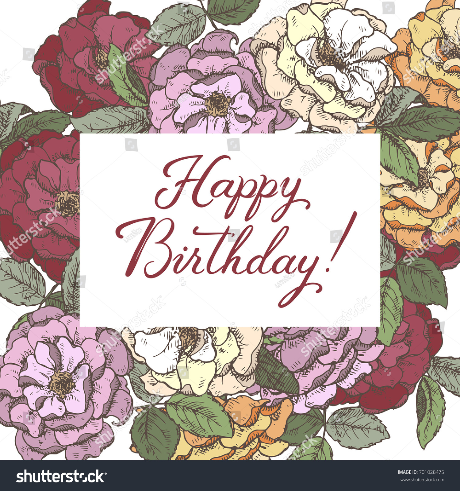 Romantic Birthday Greeting Card Template Brush Stock Vector Royalty