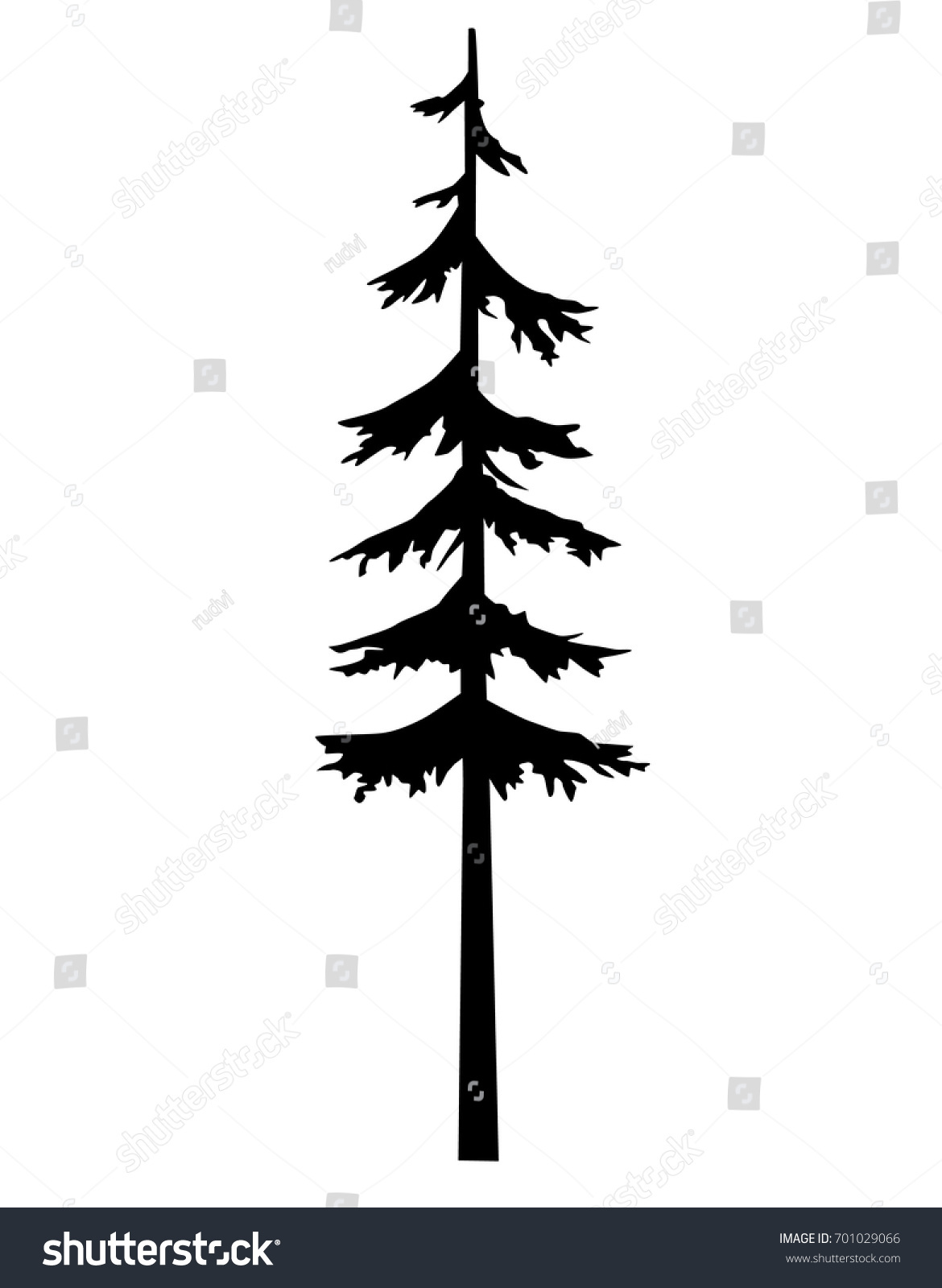 art tree silhouette pine vector tattoo stock vector royalty free