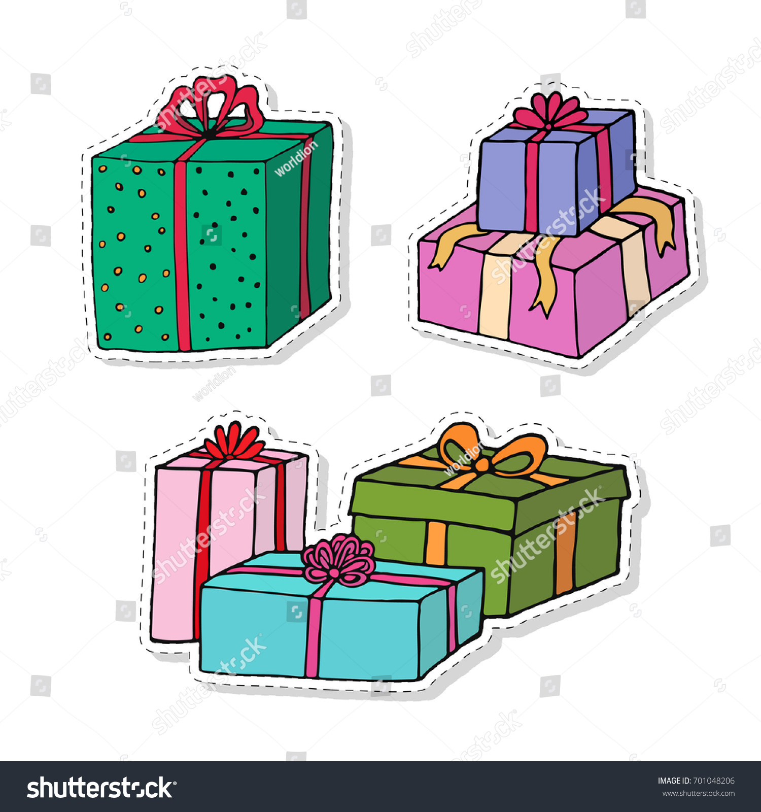 Gift boxes cartoon stickers set presents stock vector