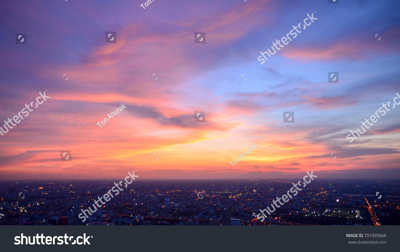 Bangkok city (Thailand) with beautiful sky. Bangkok at night time.