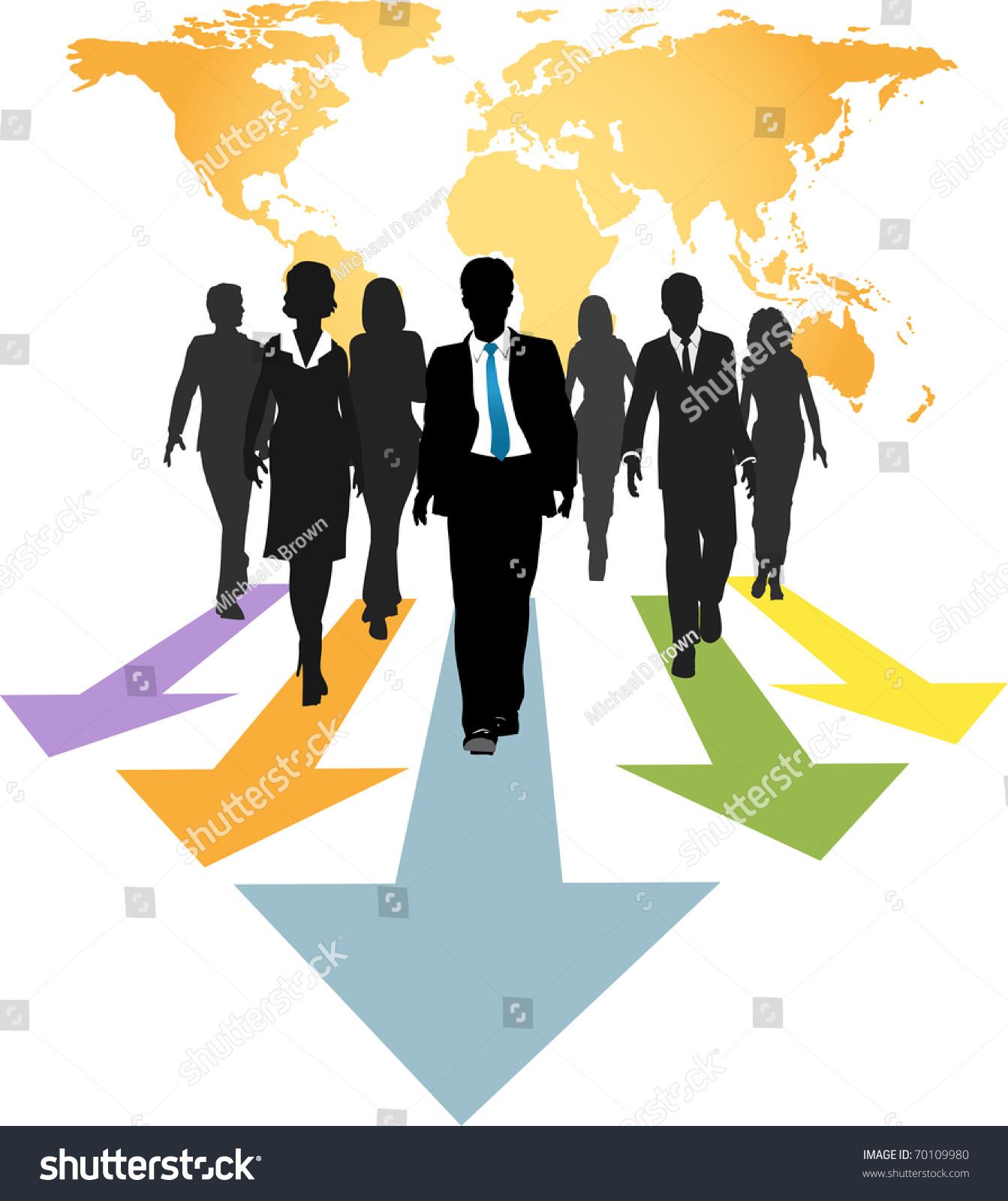 Group Of Global Business People Walk Forward On Progress ...