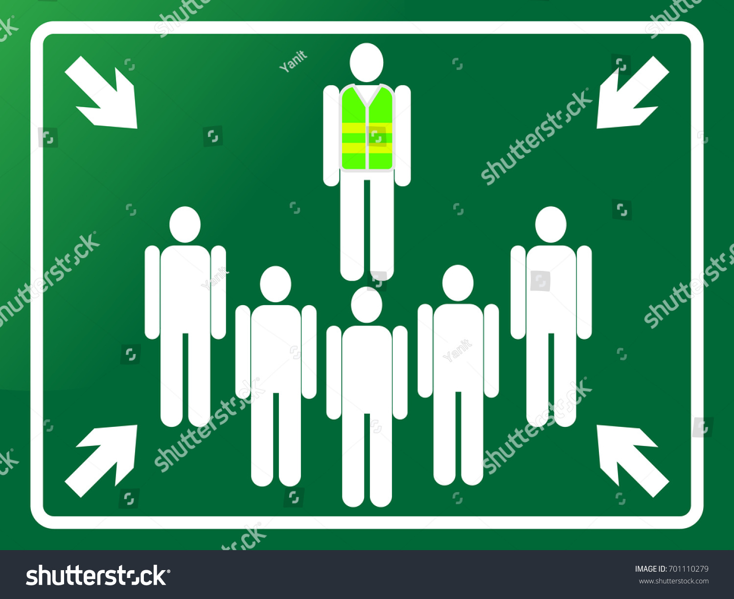 Green Assembly Point Sign Meeting Point Stock Vector Royalty Free