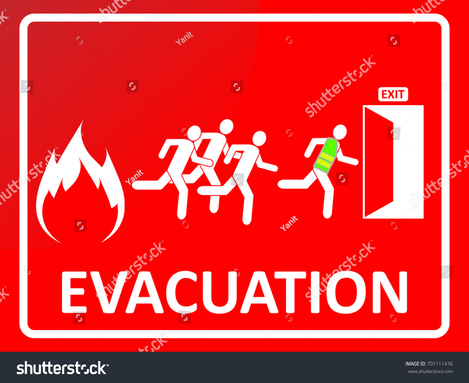 Emergency Evacuation Sign People Silhouette Running Stock Vector