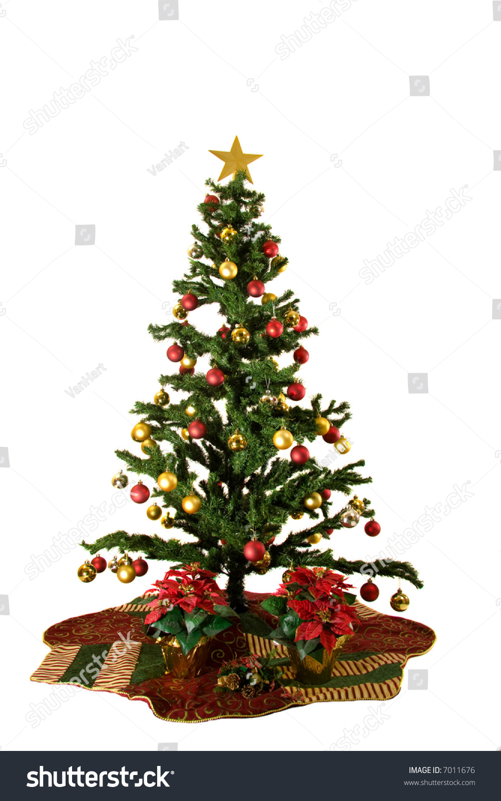 christmas tree with red and yellow christmas ornaments