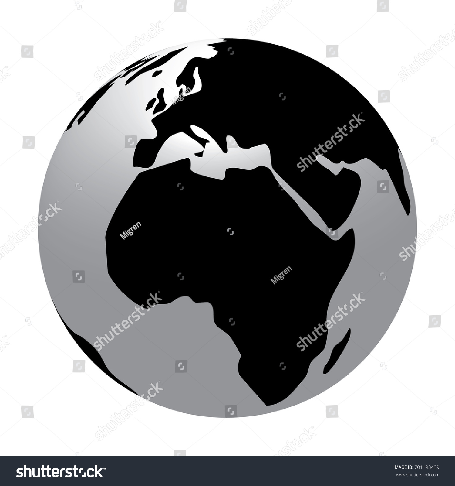 Three dimensional world map simple globe stock illustration three dimensional world map simple globe with only black white and grey colors gumiabroncs Choice Image