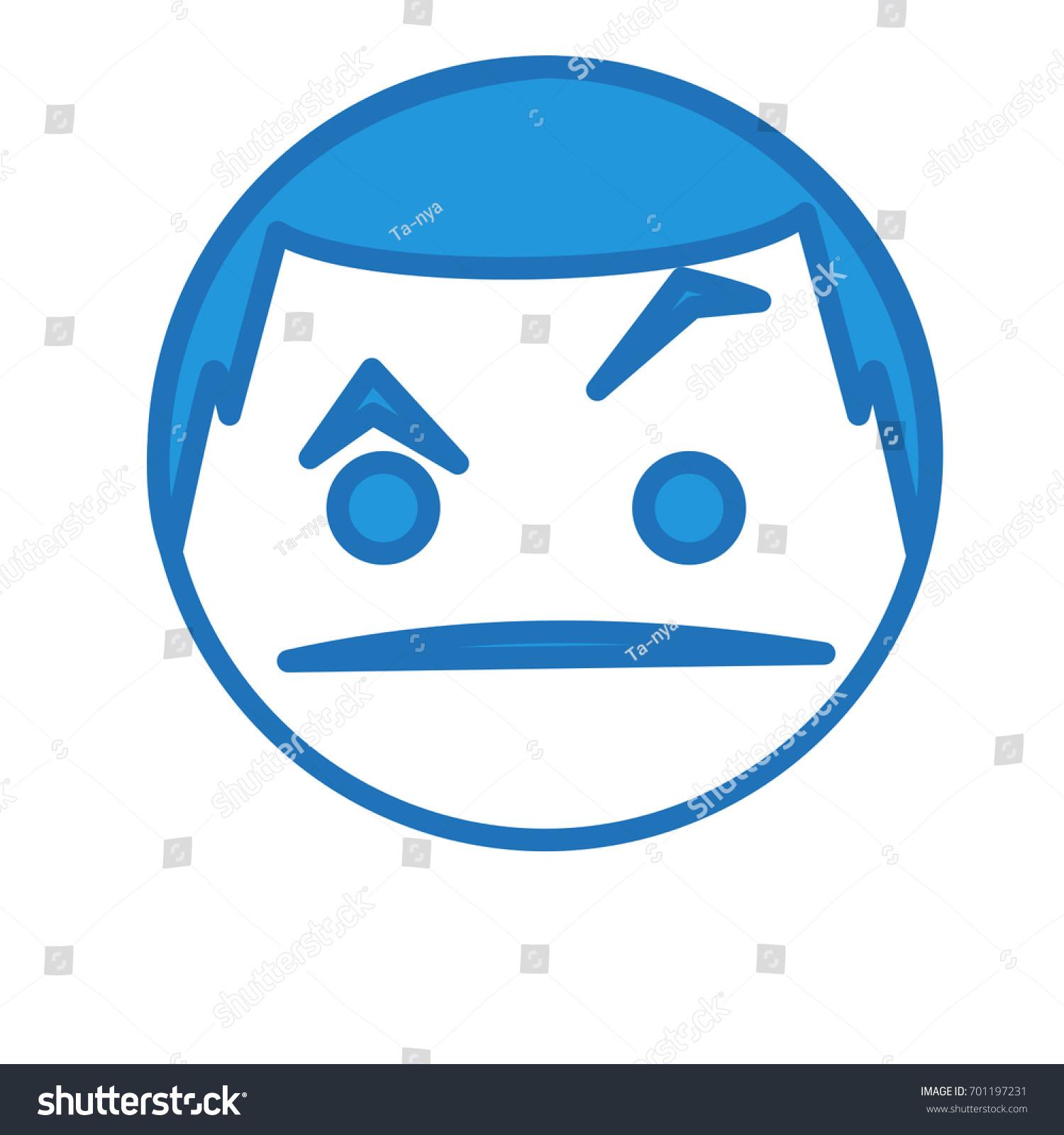 Confused Emoticon Raising Eyebrow Expression Circle Stock Vector